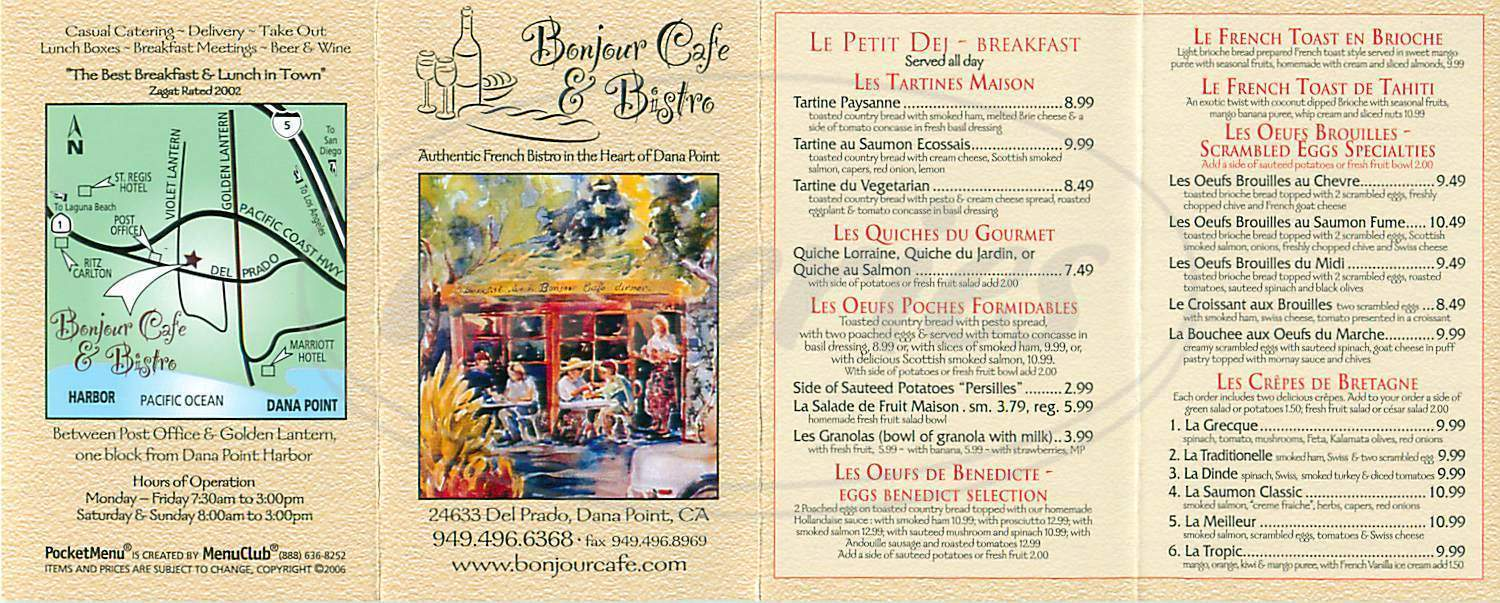 menu for Bonjour Cafe & Bistro