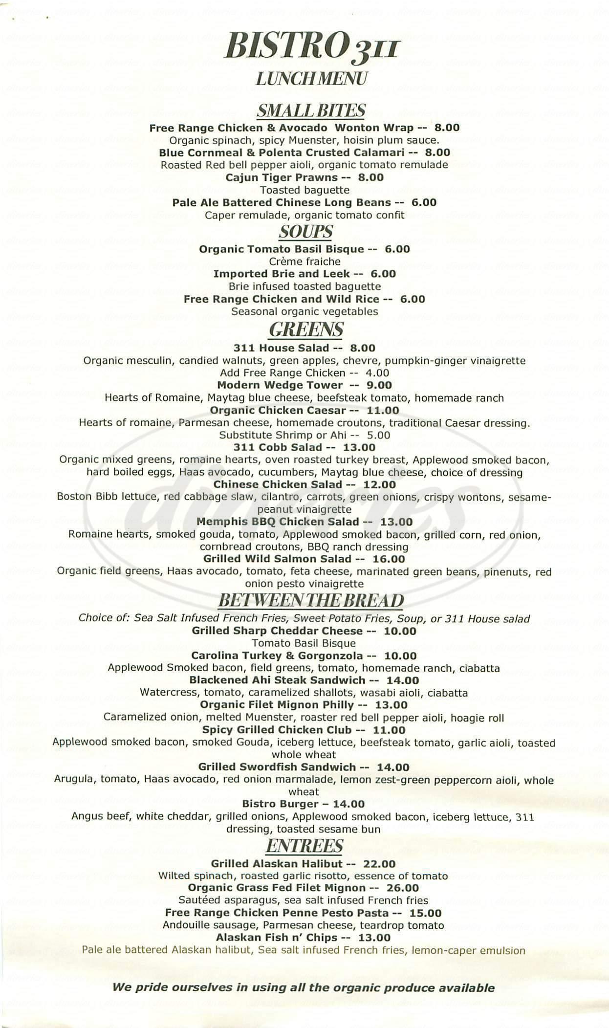 menu for Bistro 311
