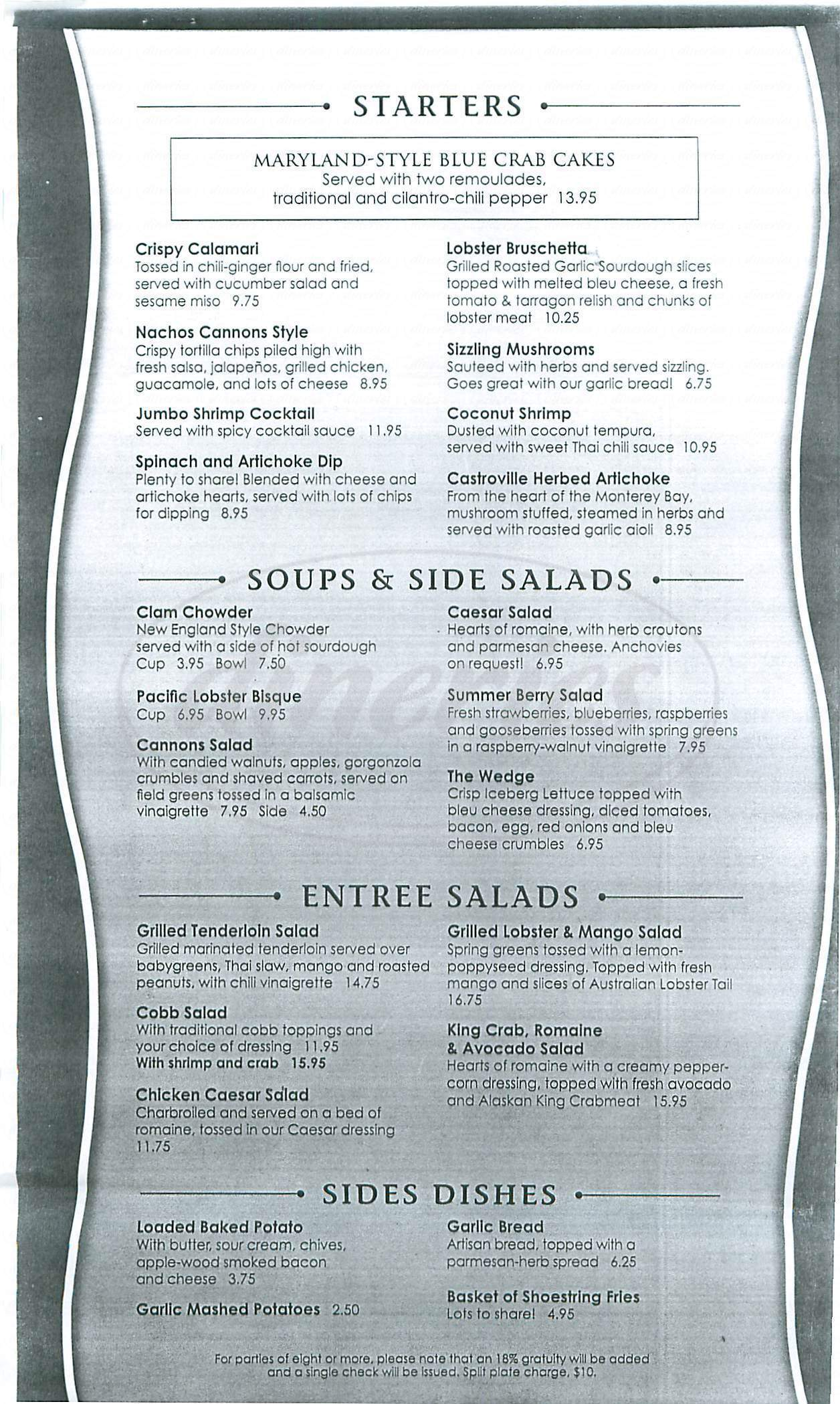 menu for Cannons Seafood Grill