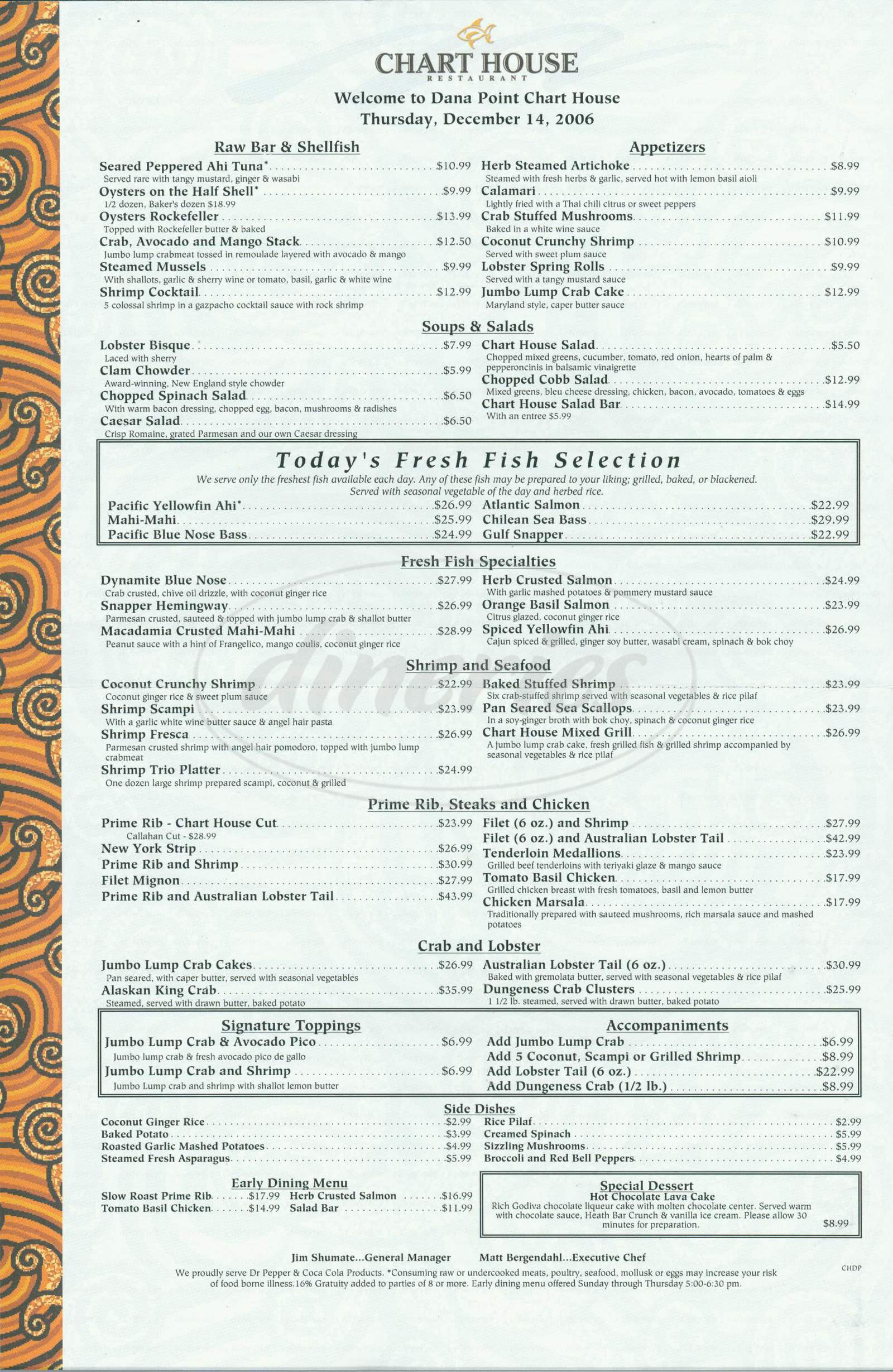 menu for Chart House