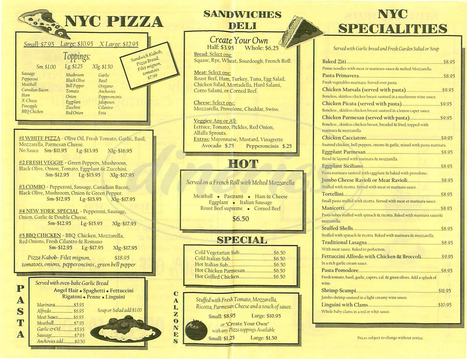 menu for NYC