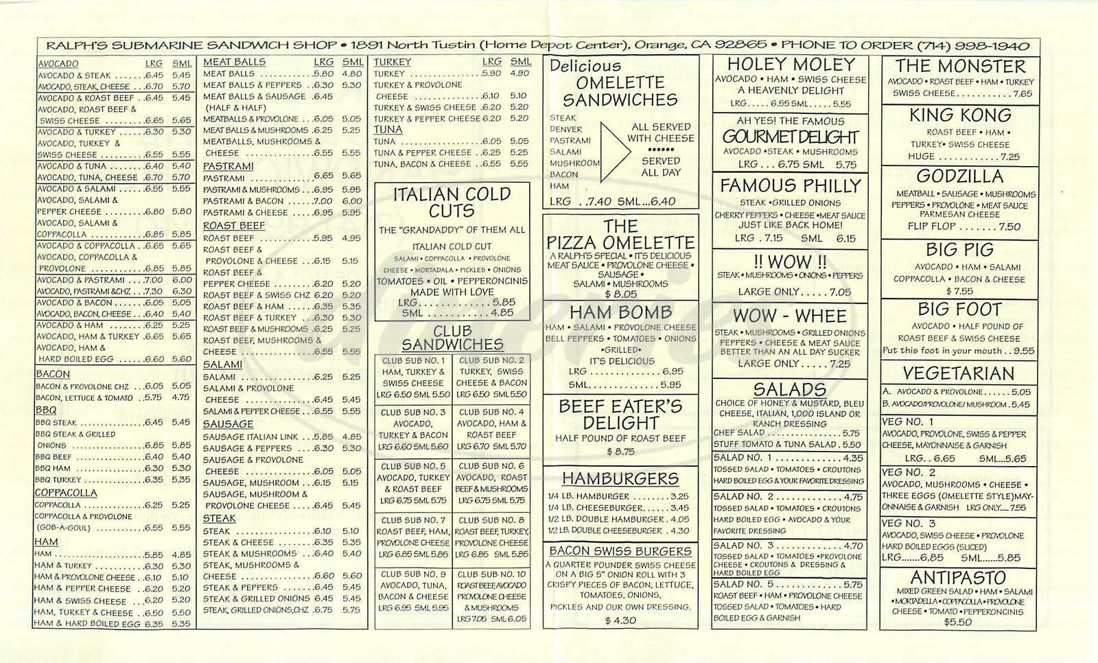 menu for Ralph's Submarine Shop