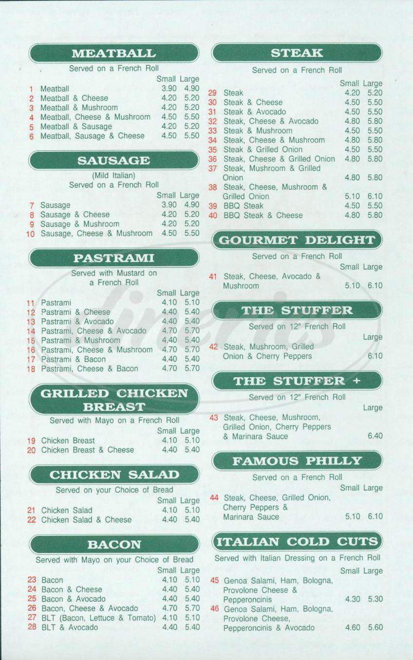 menu for Tummy Stuffer