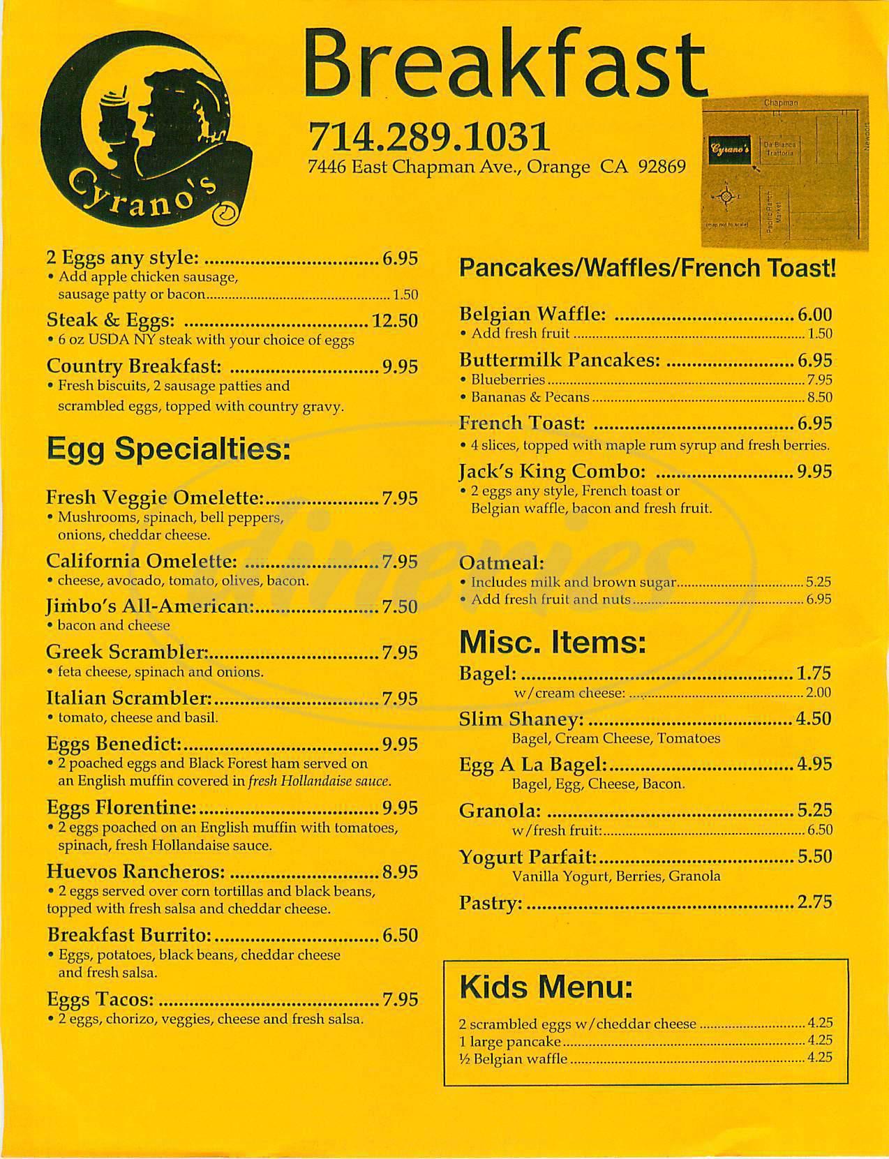 menu for Cyrano's