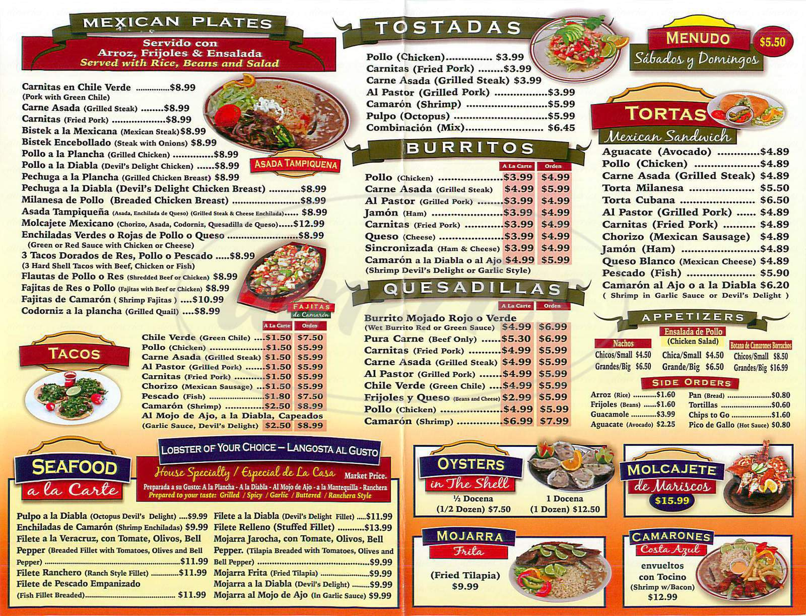 menu for El Mirador Restaurant