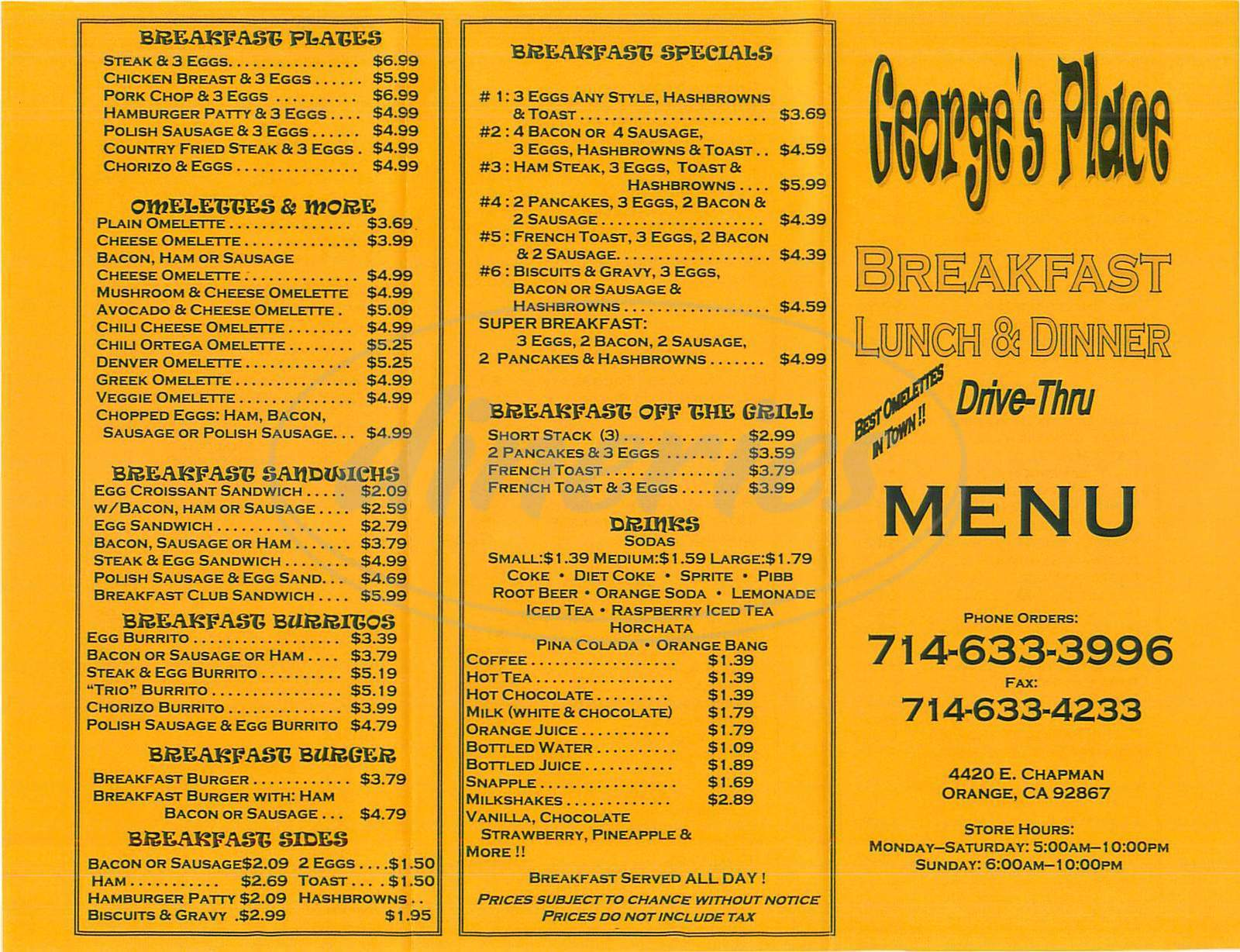 menu for George's Place