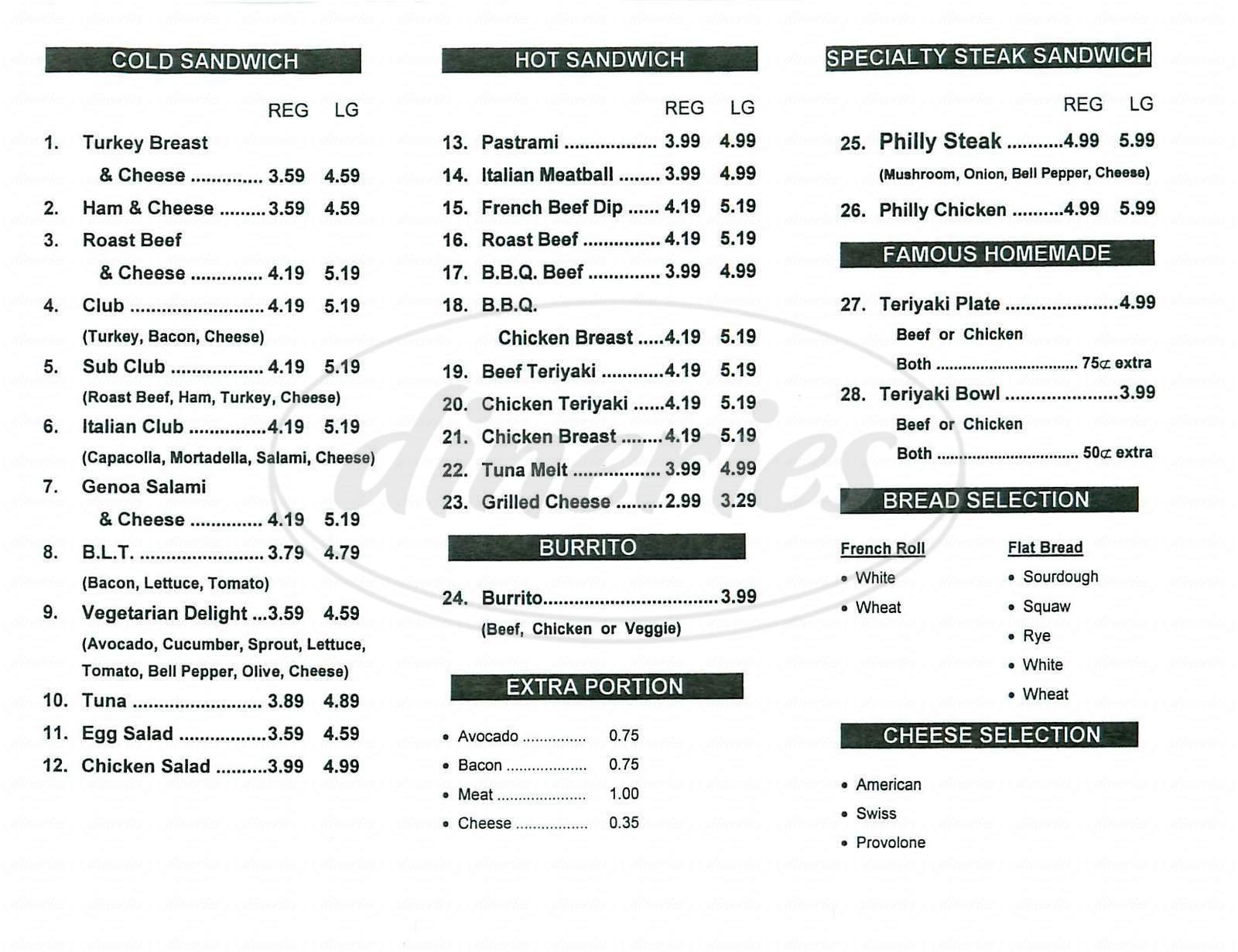 menu for Sandwich Plus