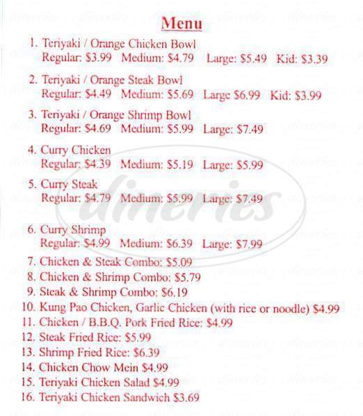 menu for Chicken Bowl Express