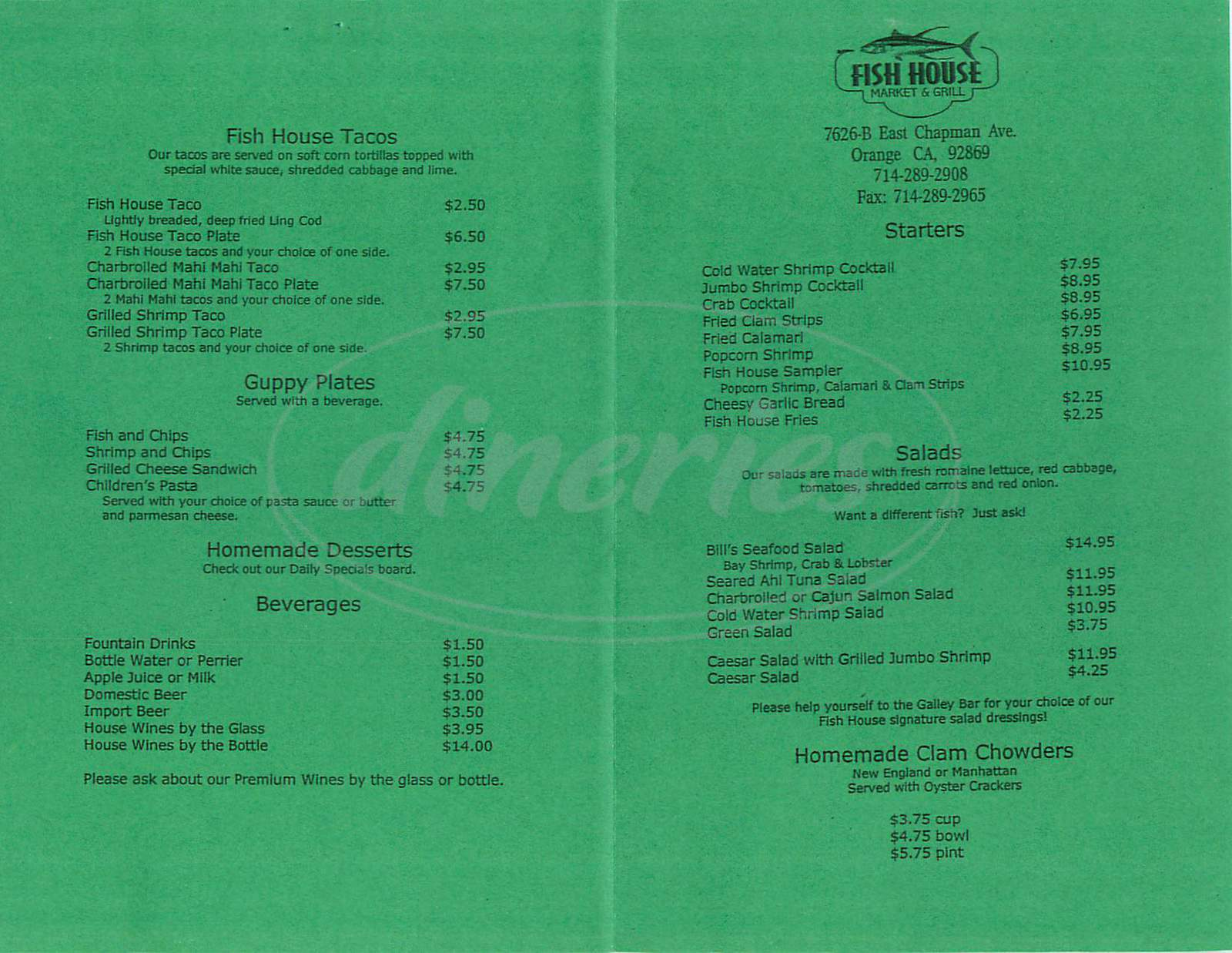 menu for Fish House Market & Grill