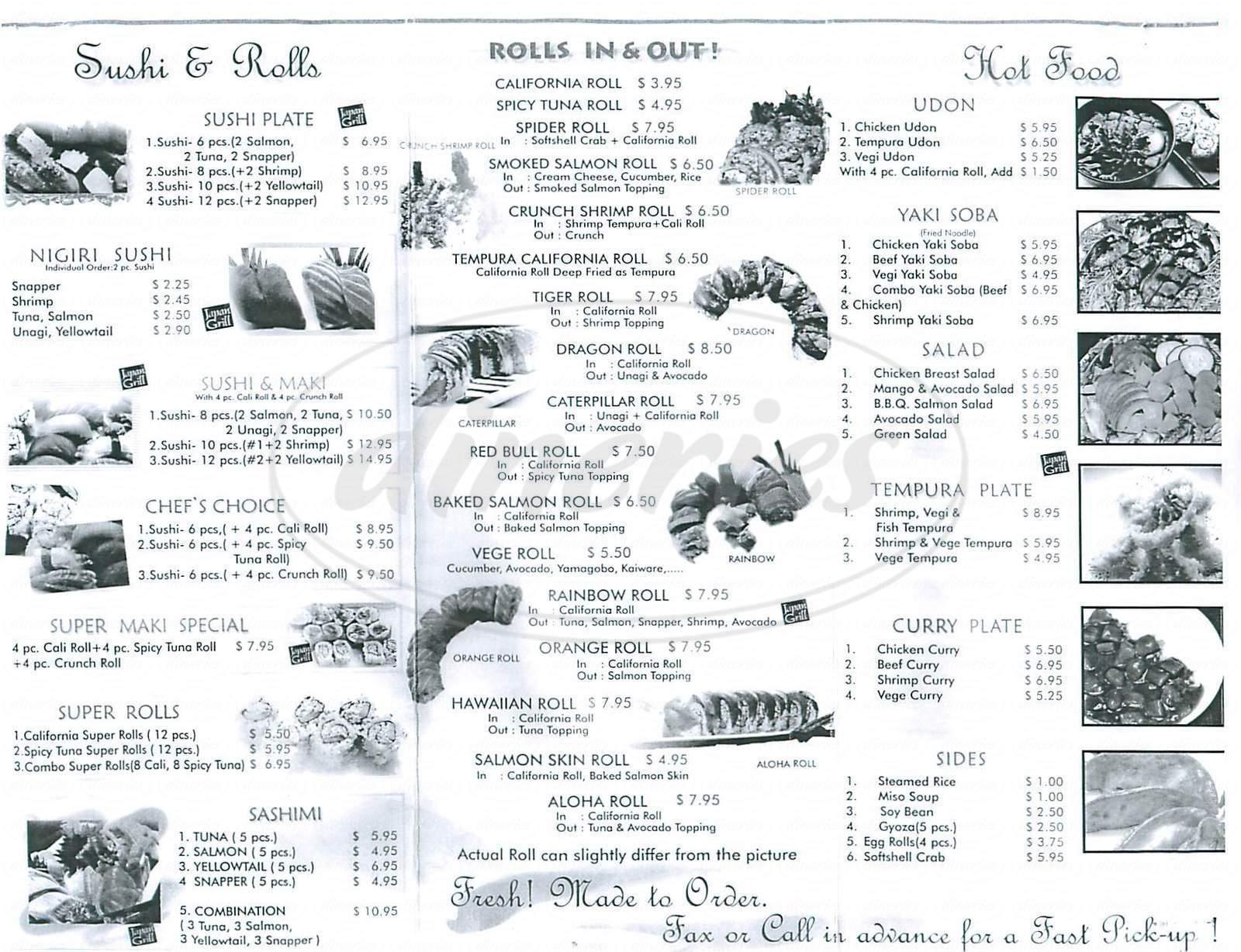 menu for Japan Grill