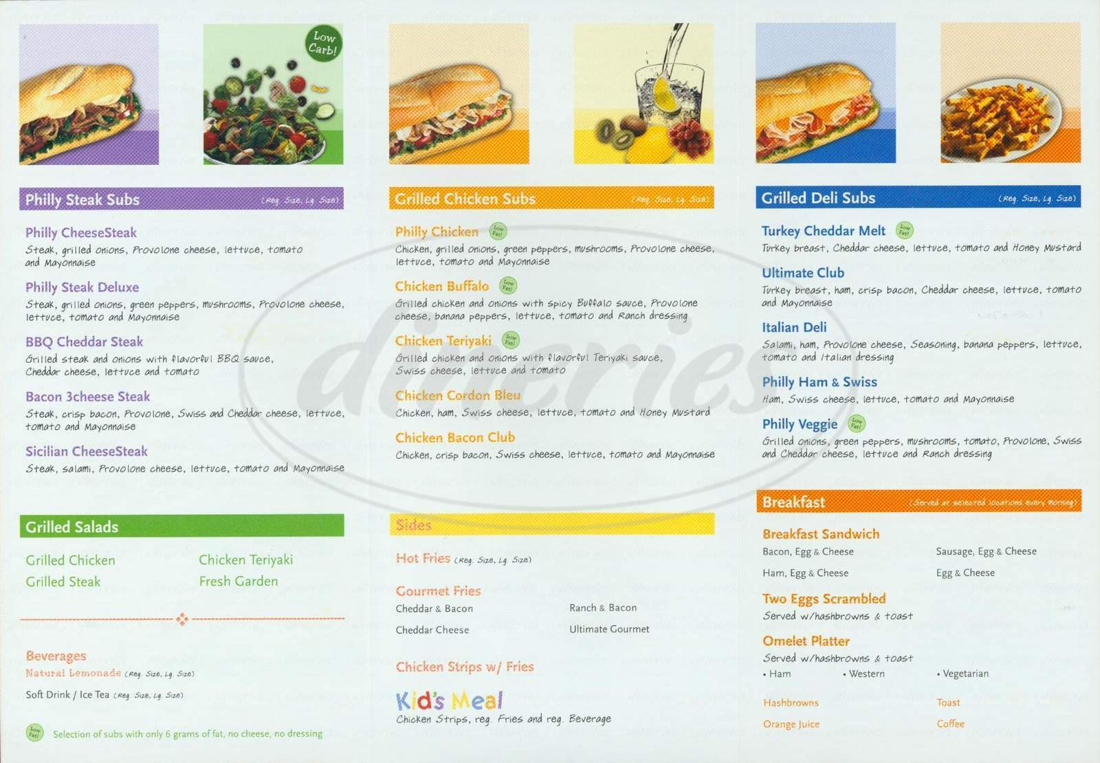 menu for Charley's Grilled Subs