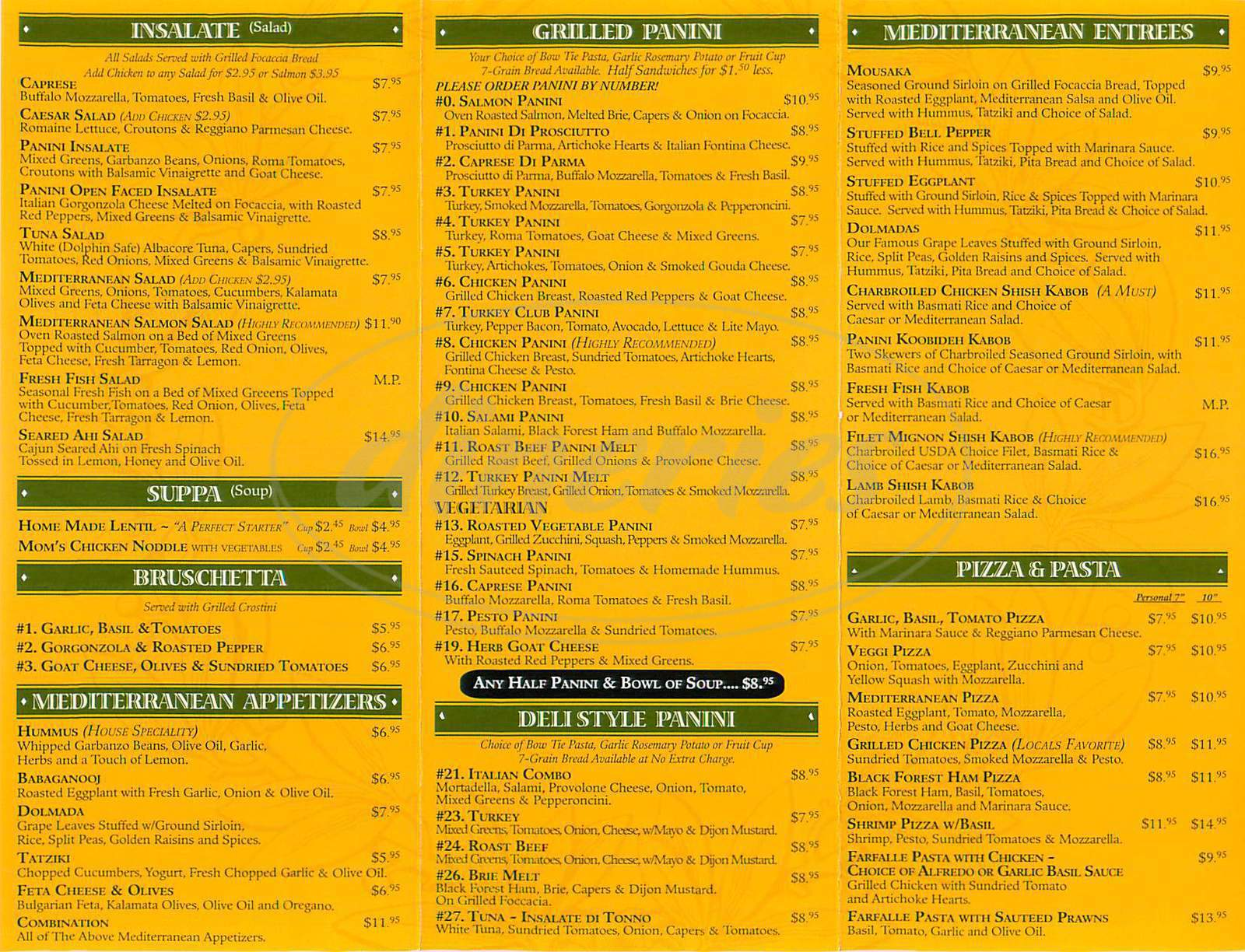 Big menu for Panini Cafe, Los Angeles