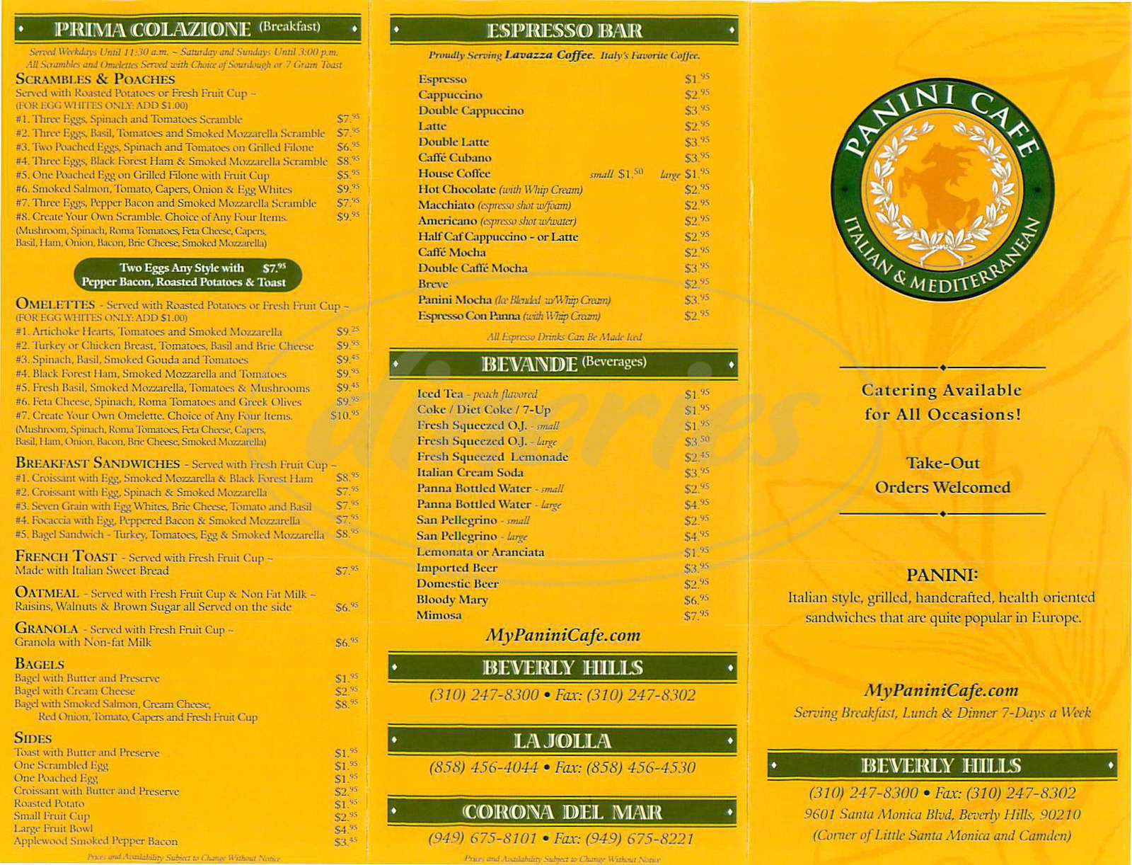menu for Panini Cafe