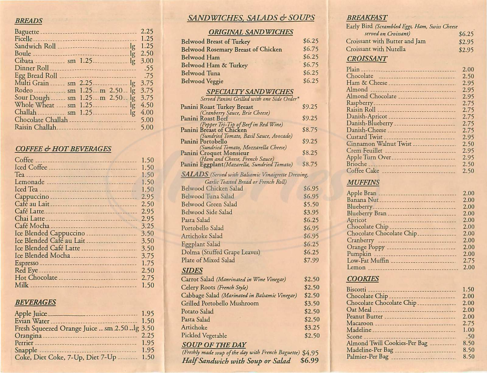 Belwood bakery cafe menu beverly hills dineries menu for belwood bakery cafe thecheapjerseys Images