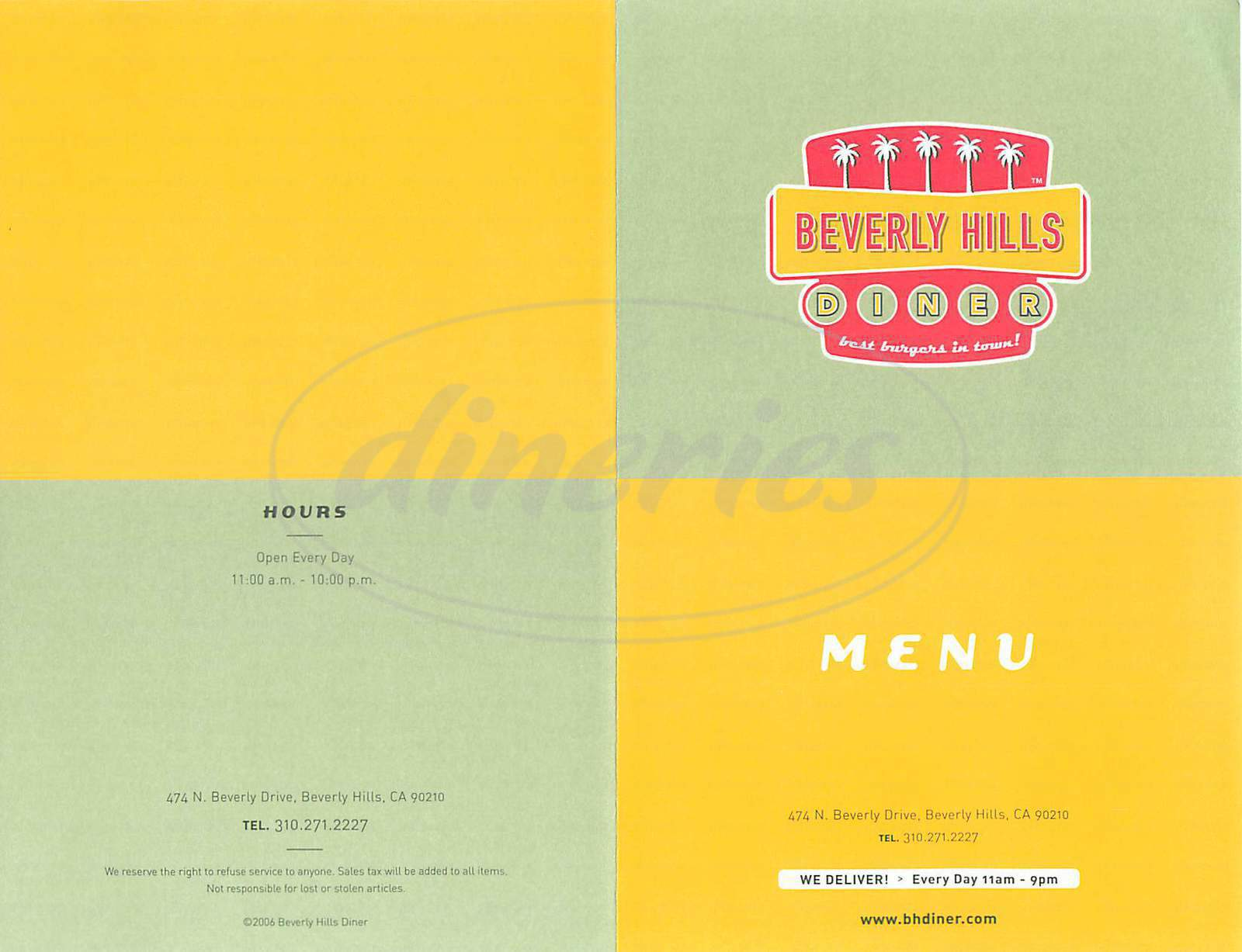 menu for Beverly Hills Diner