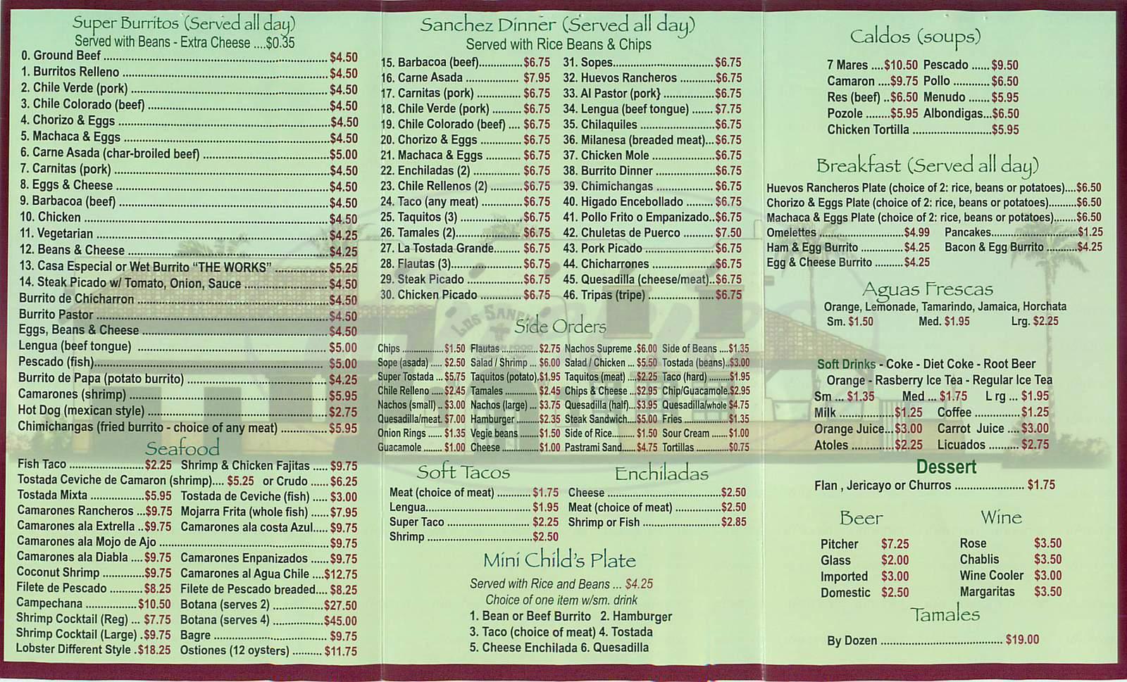 menu for Los Sanchez