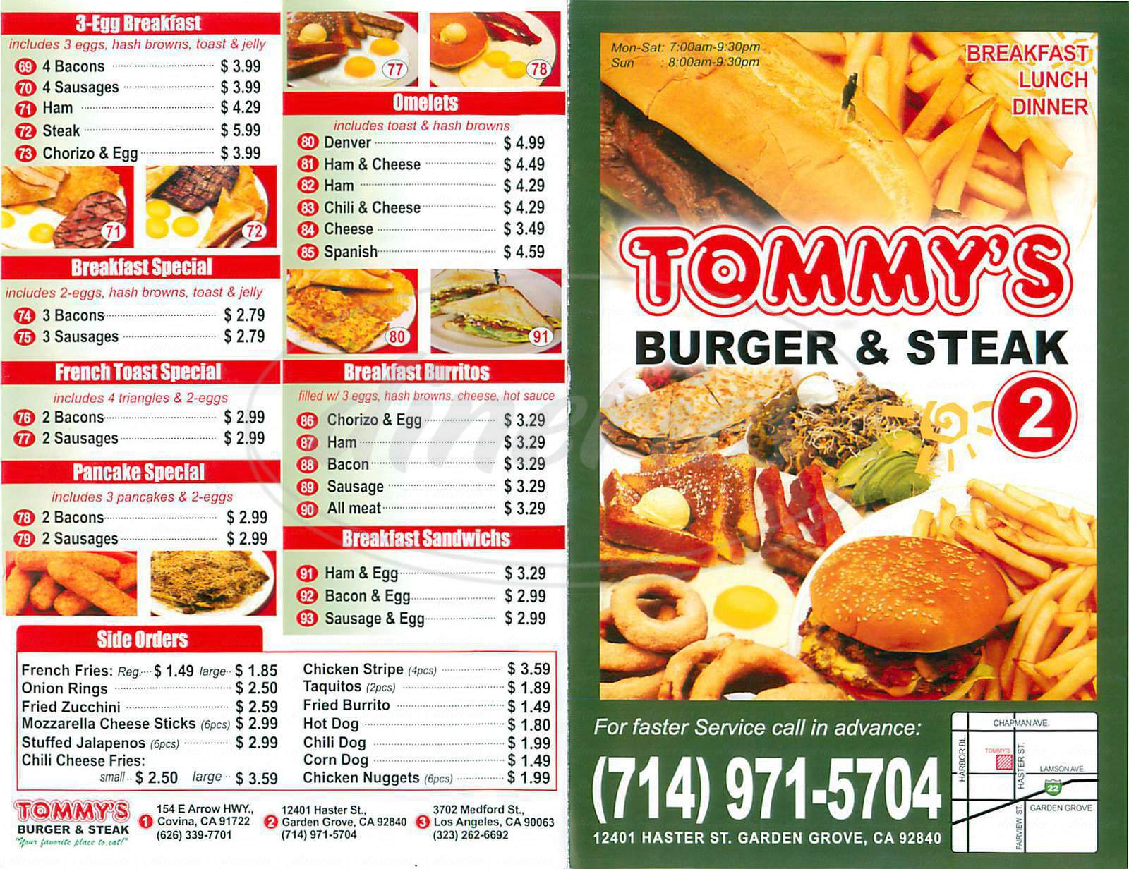 menu for Tommy's Burger & Steak