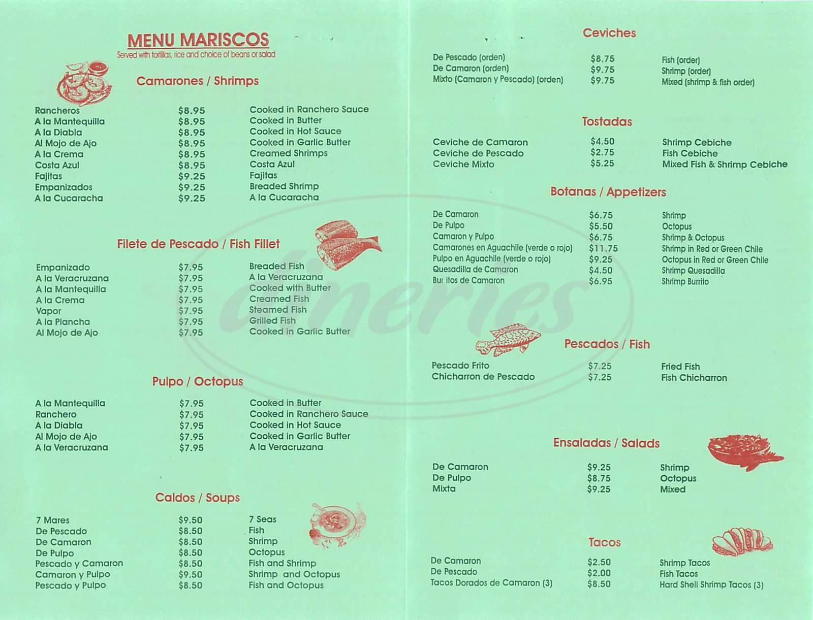 menu for Rivera Mexican Food