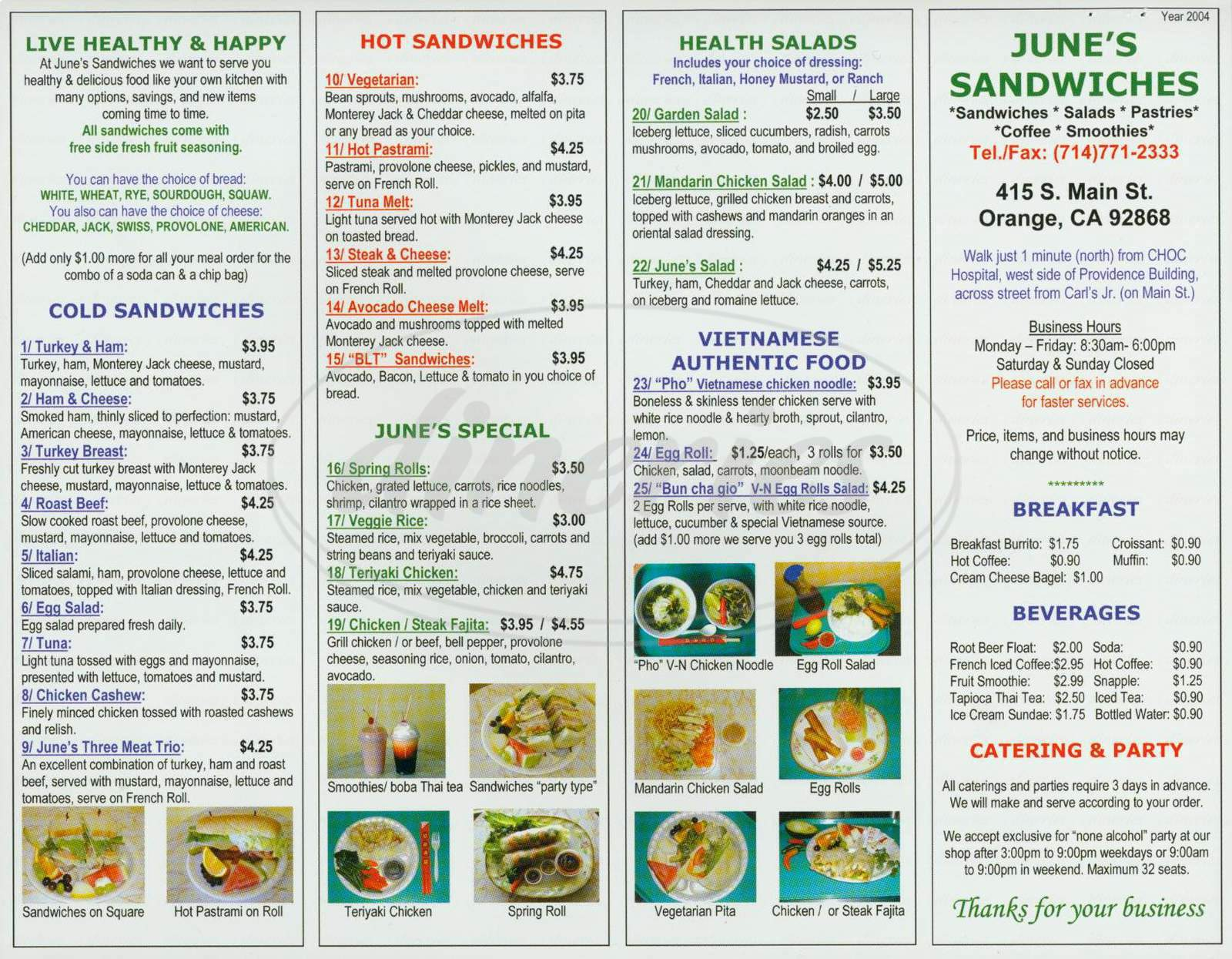 menu for June's Sandwiches