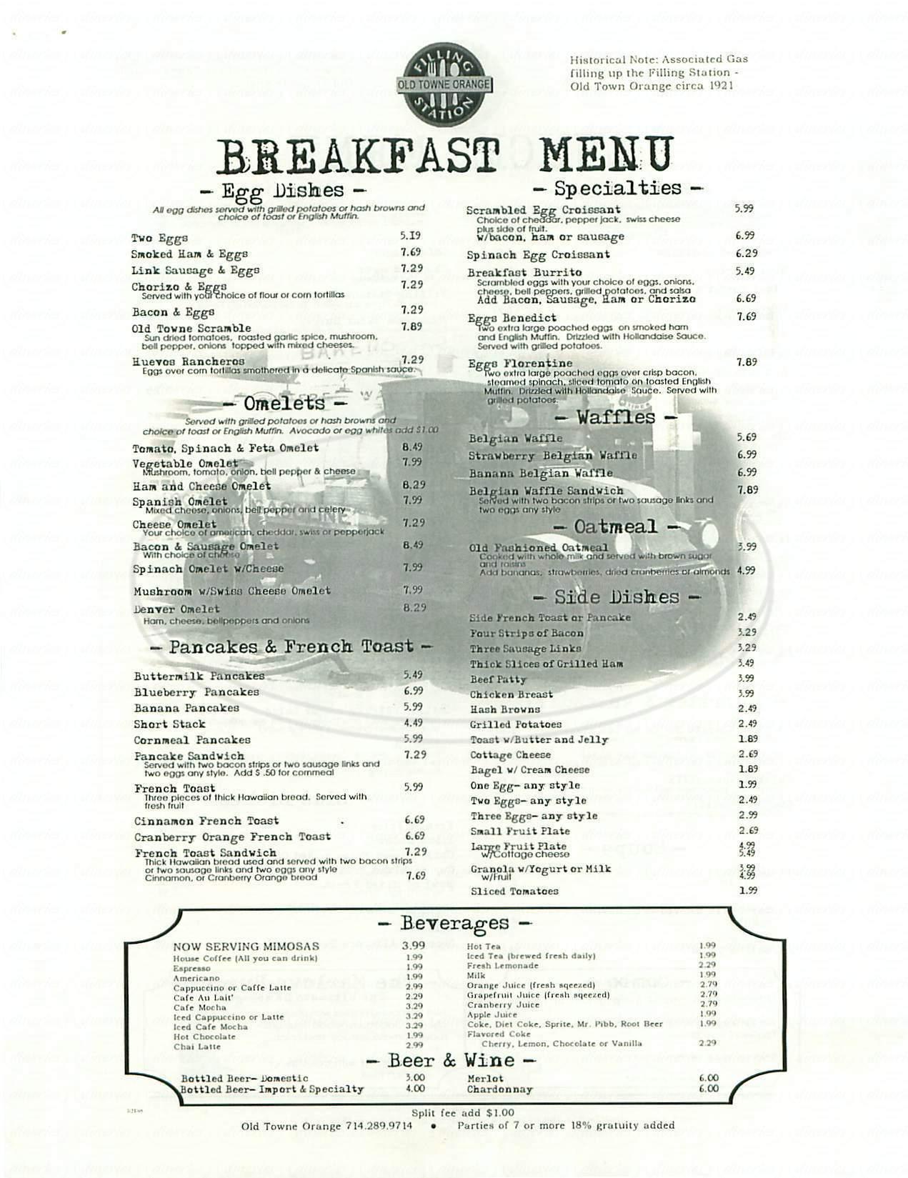 menu for Filling Station