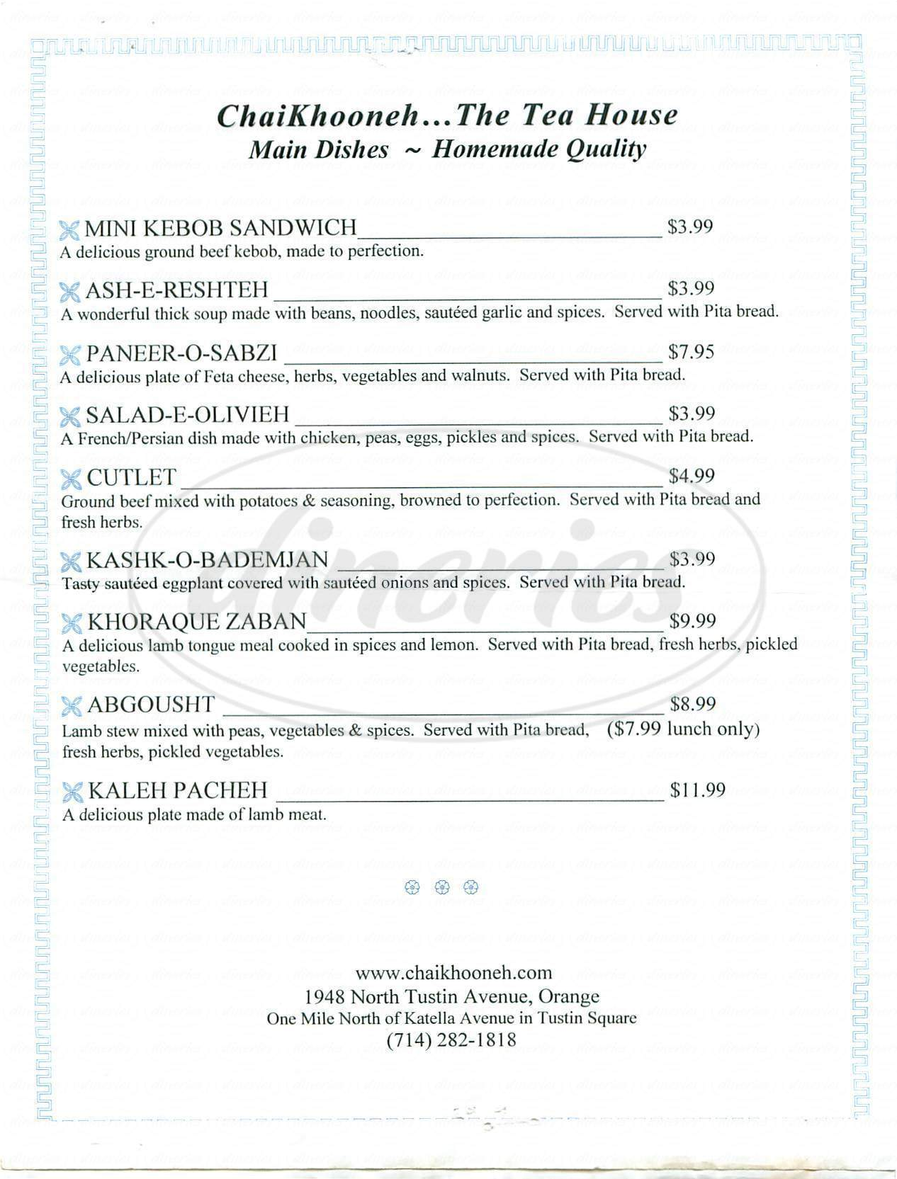 menu for Chai Khooneh Tea House