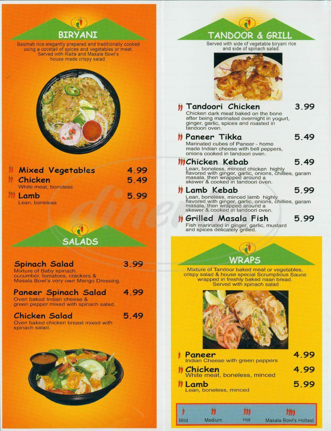 menu for Masala Bowl