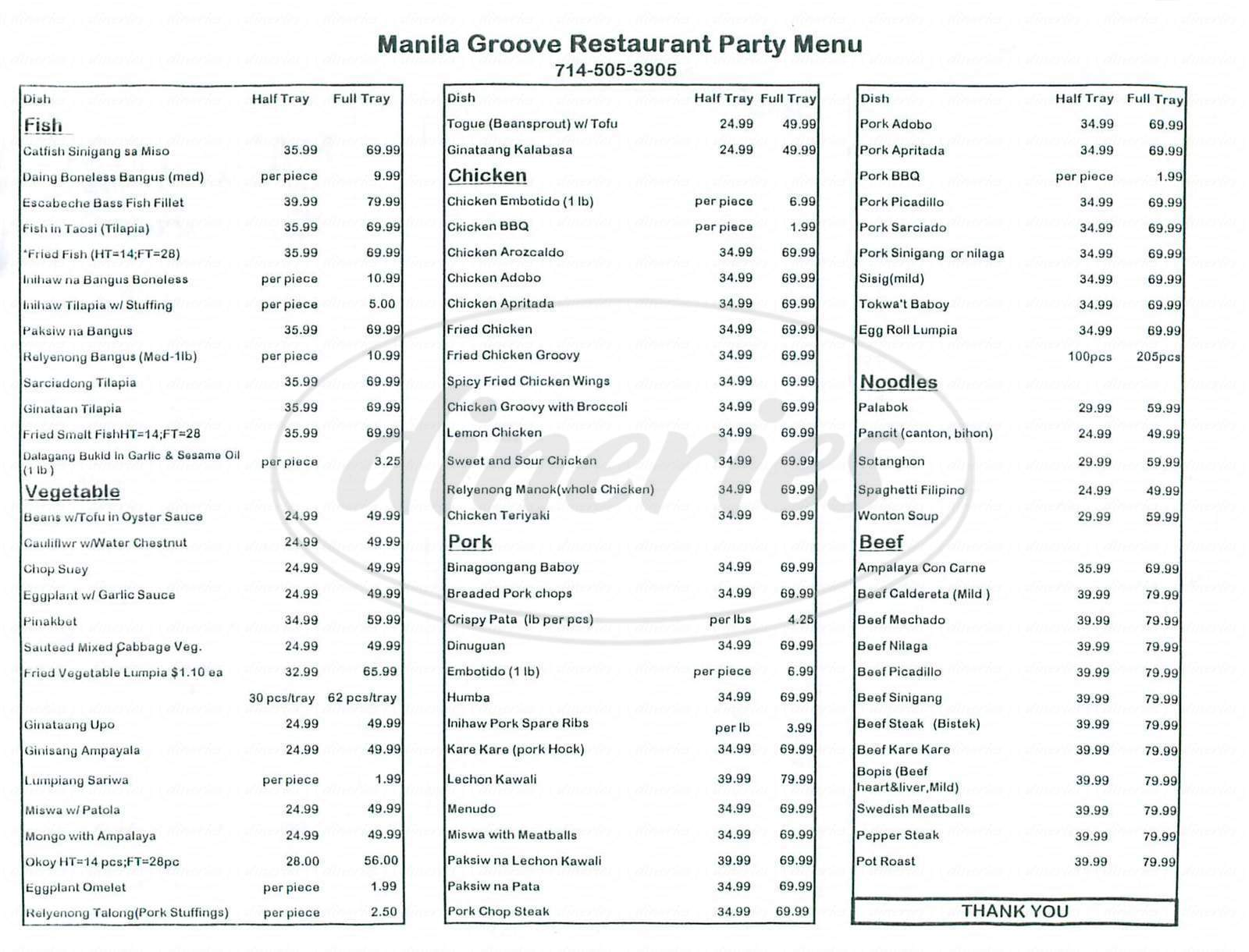 menu for Manila Groove Restaurant