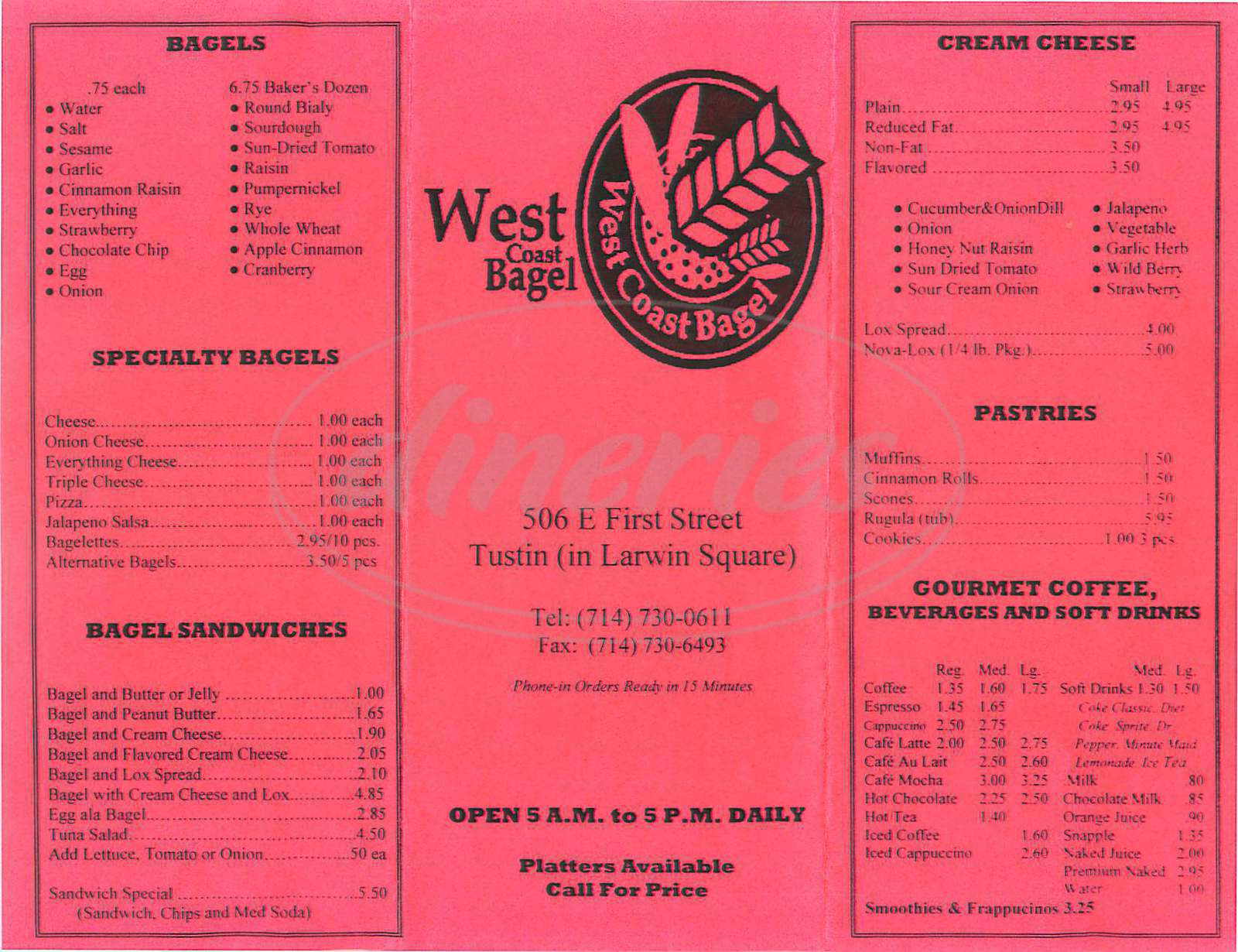 menu for West Coast Bagel