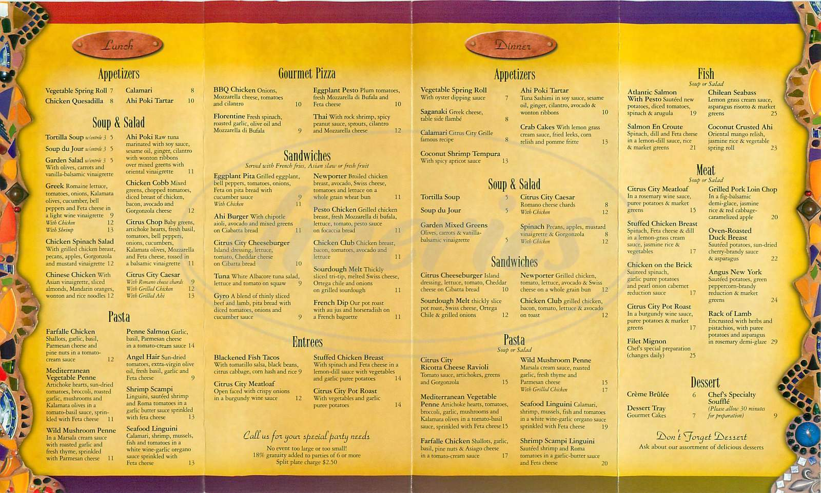 menu for Citrus Cafe