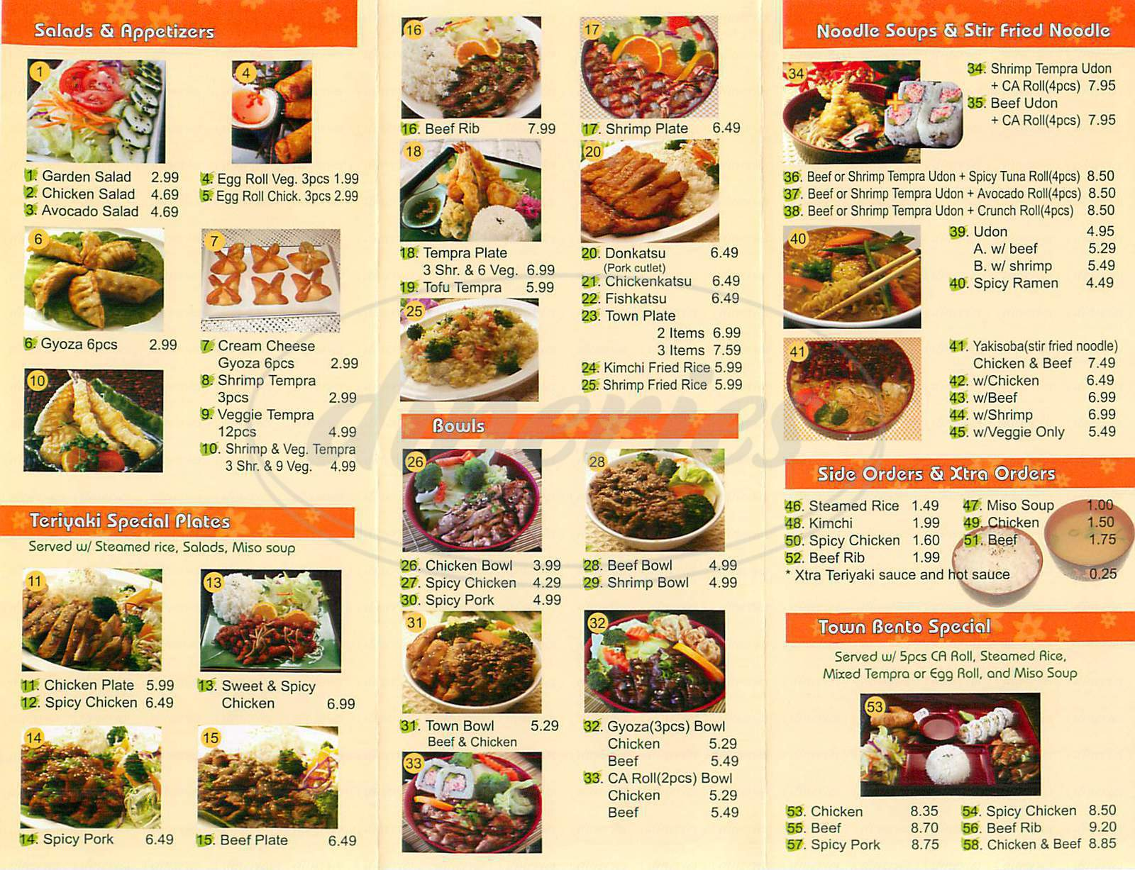 menu for Teriyaki Town