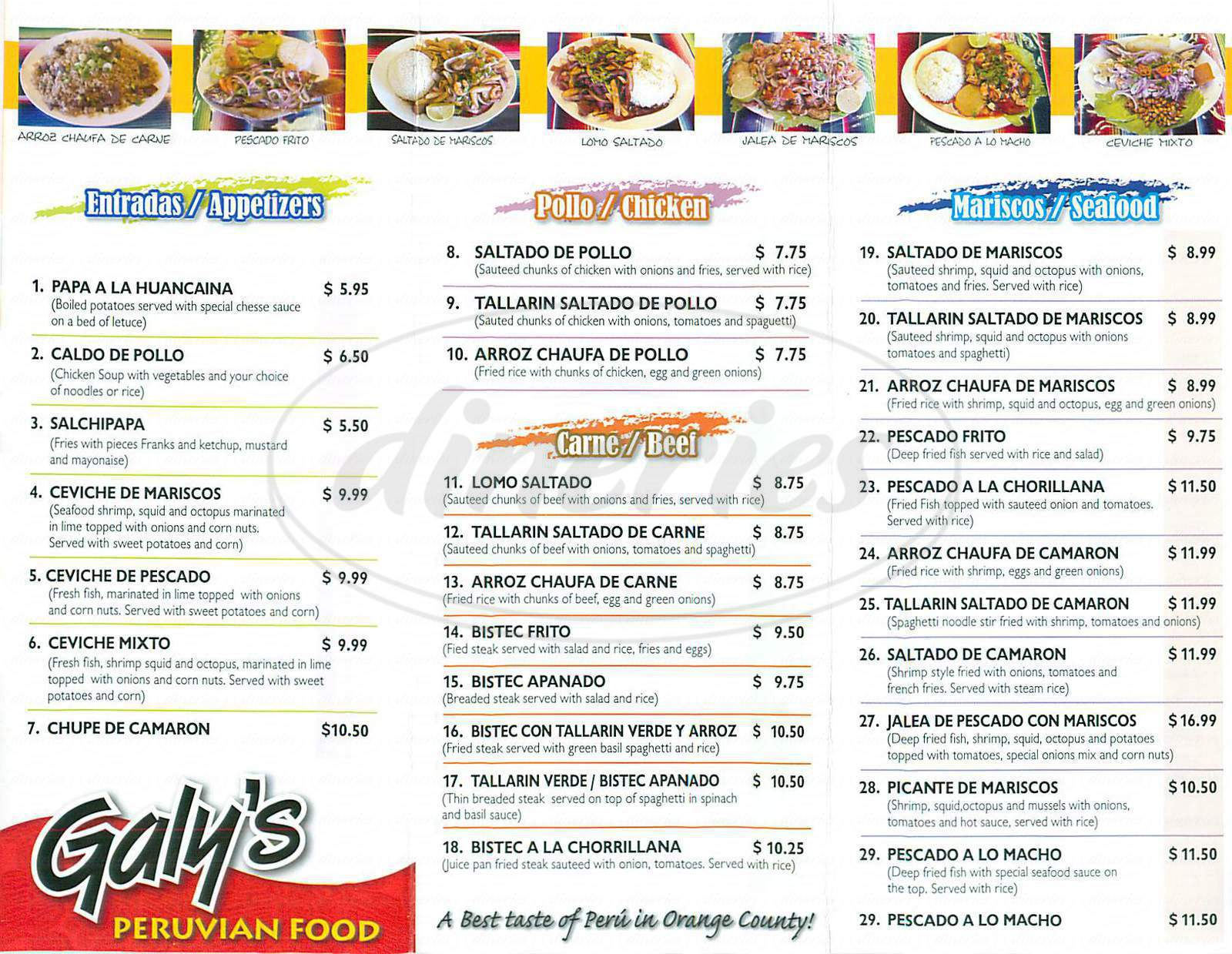 menu for Galy's Peruvian Food