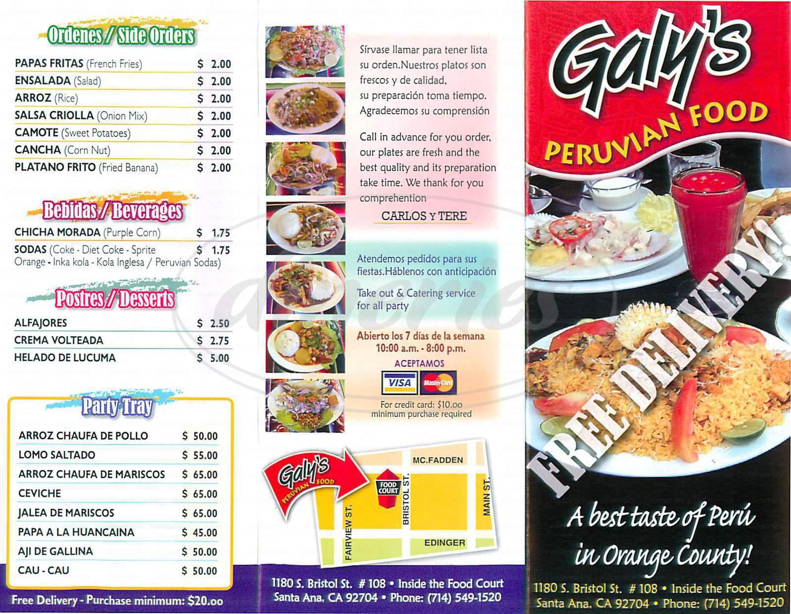 menu for Galy's Peruvian Food
