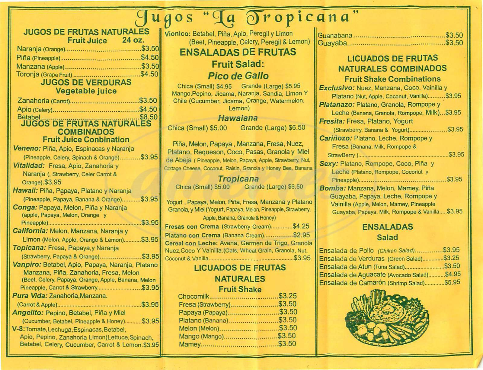 menu for Jugos la Tropicana