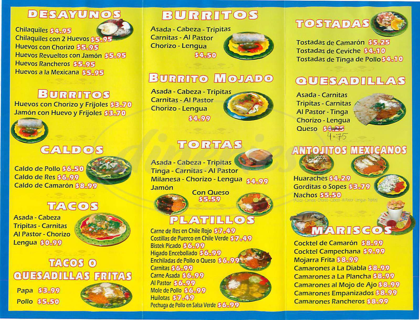 menu for Taquerias Paraiso