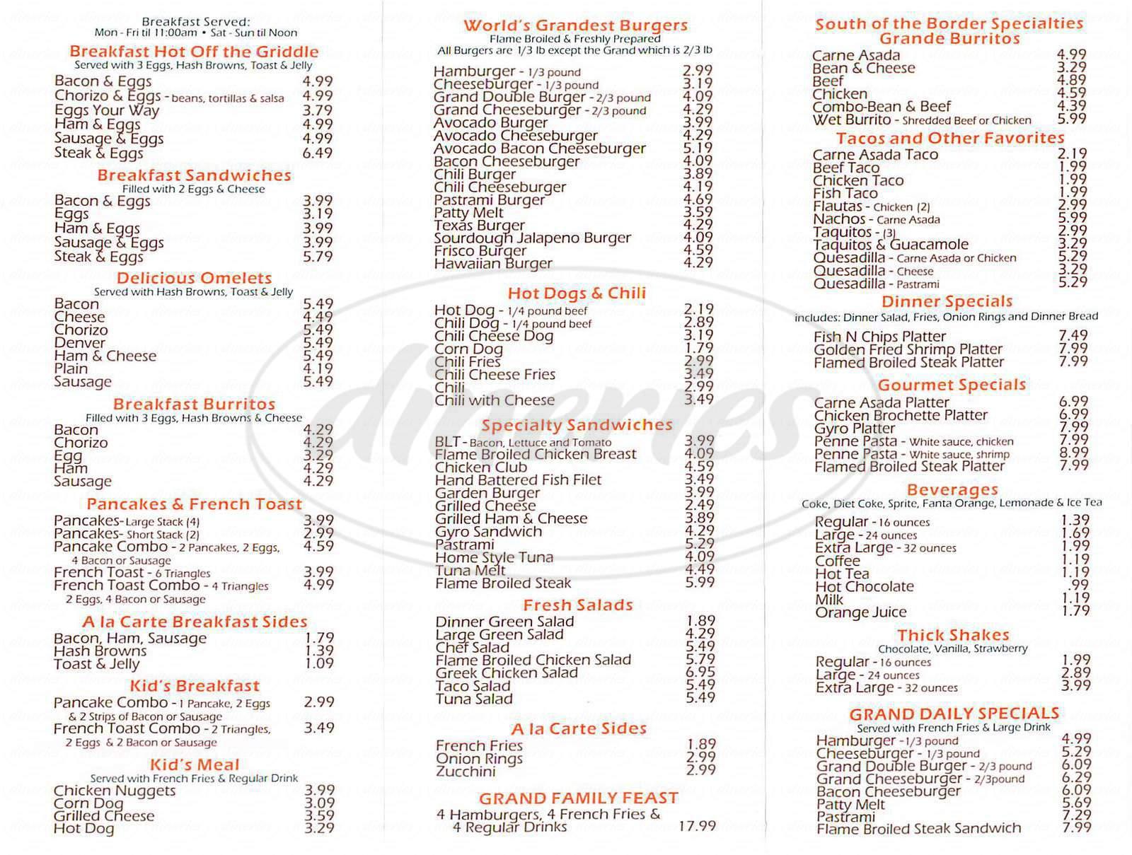 menu for Grand Burgers