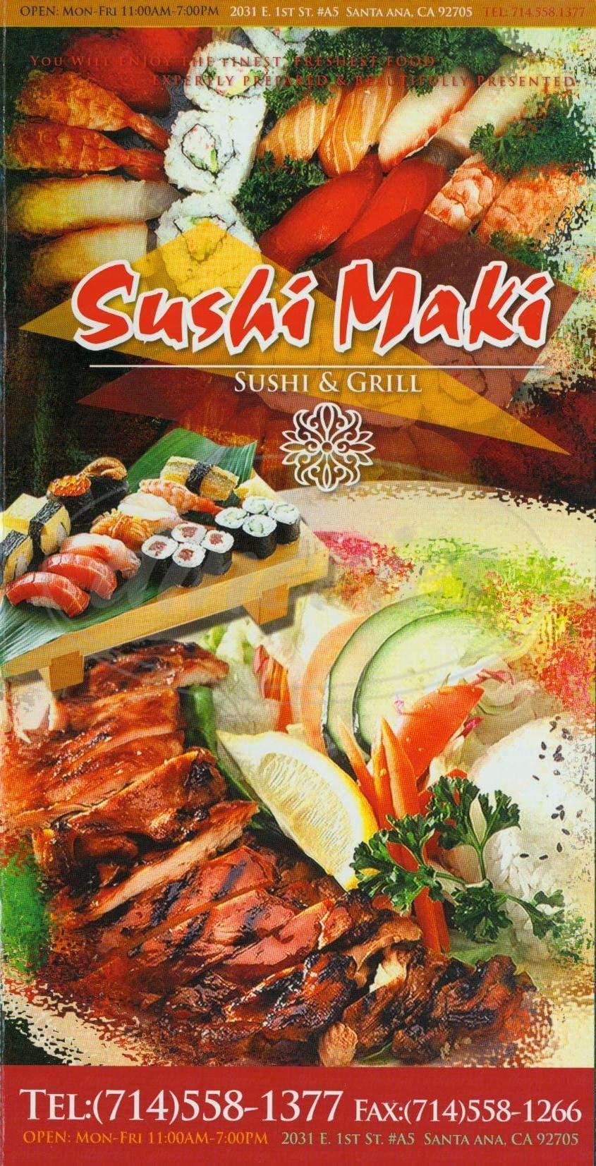 menu for Sushi Maki