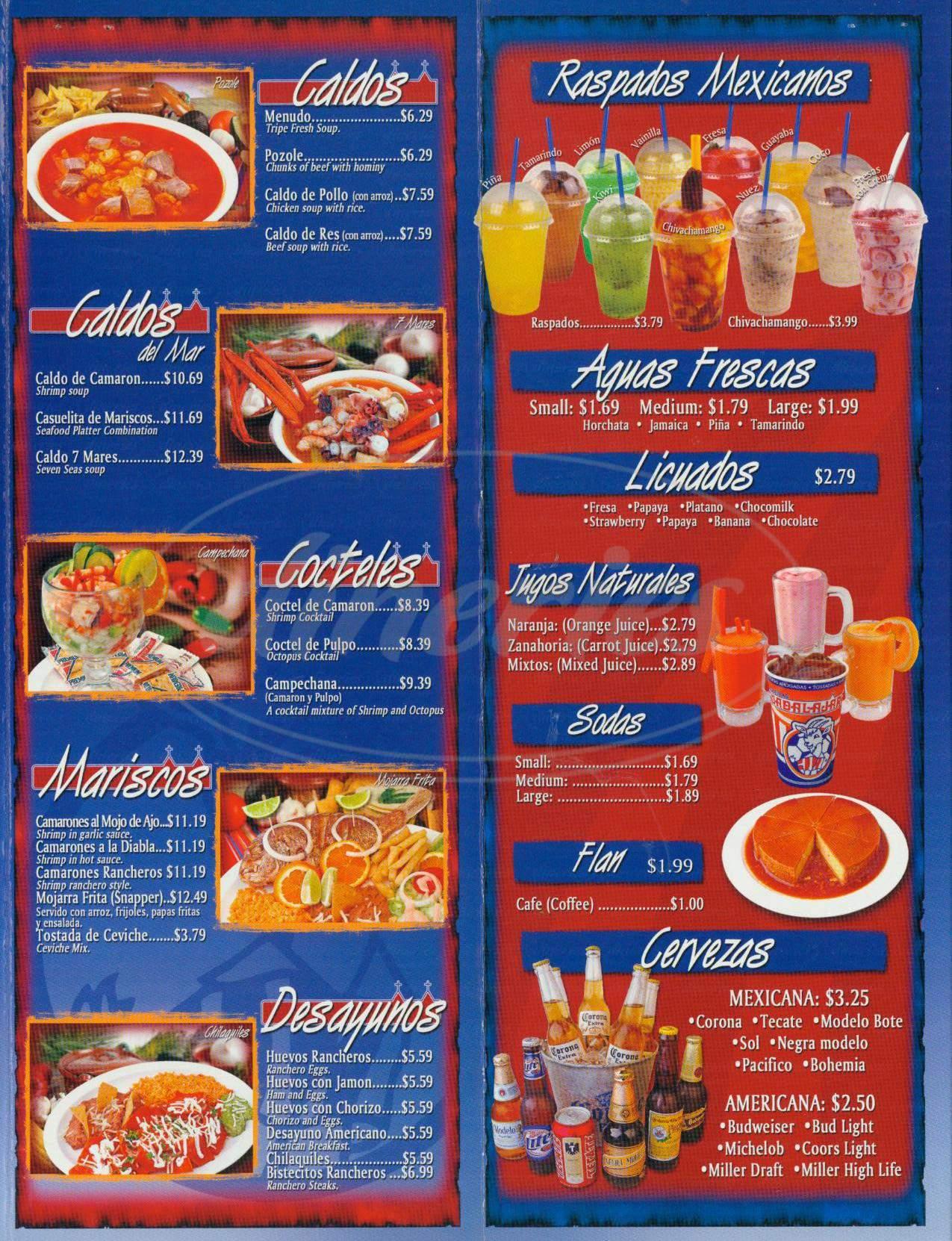 menu for Taquerias Guadalajara