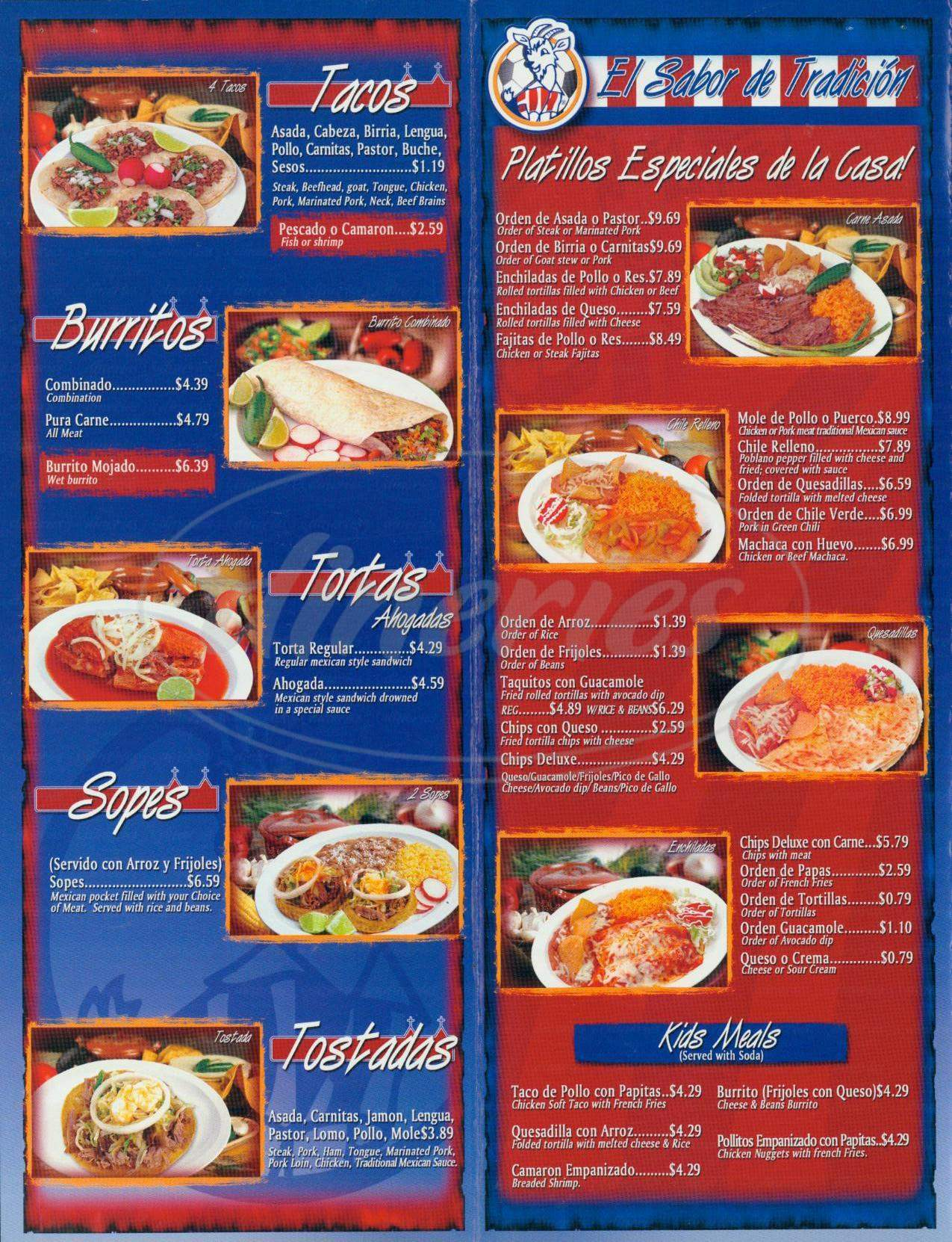 menu for Taquerias Guadalajara