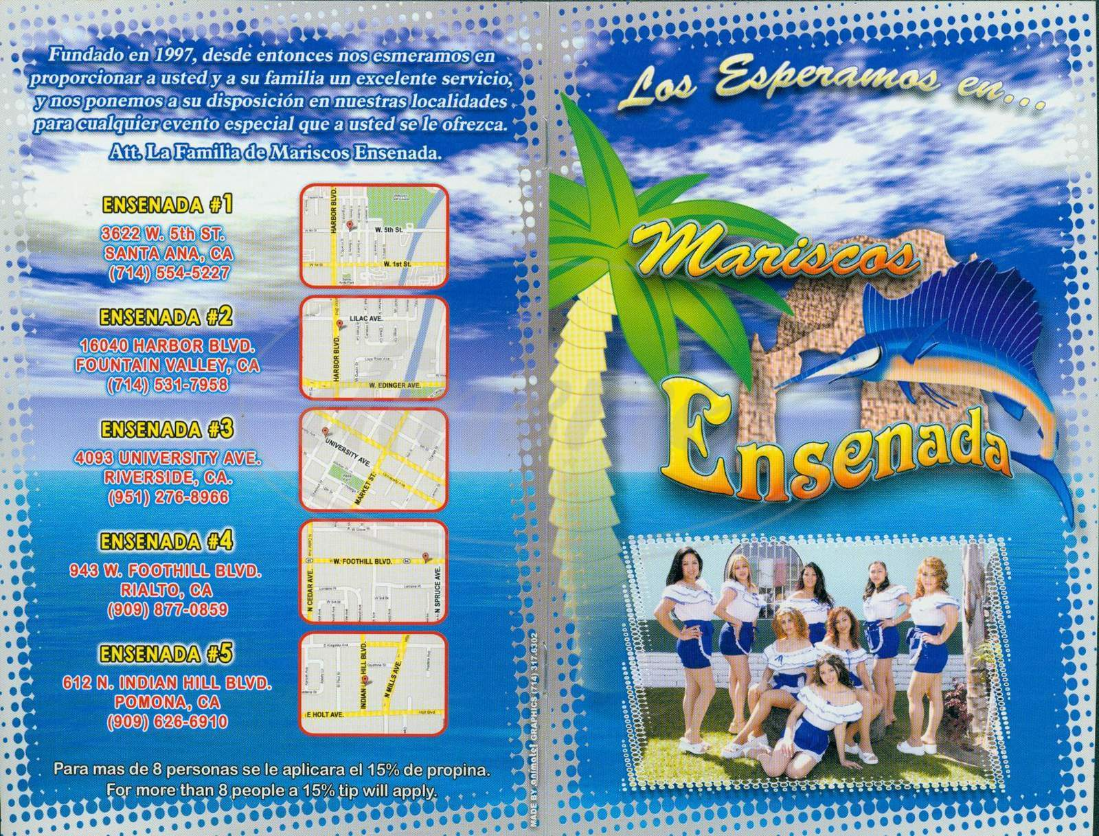 menu for Mariscos Ensenada