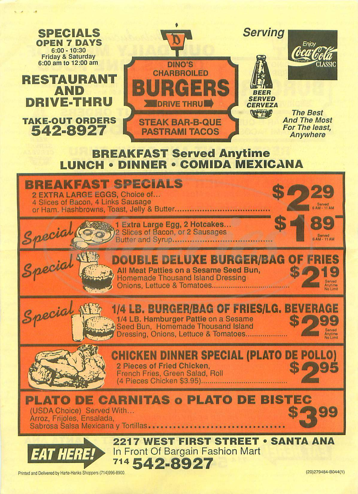 menu for Dino's Charbroiled Burgers