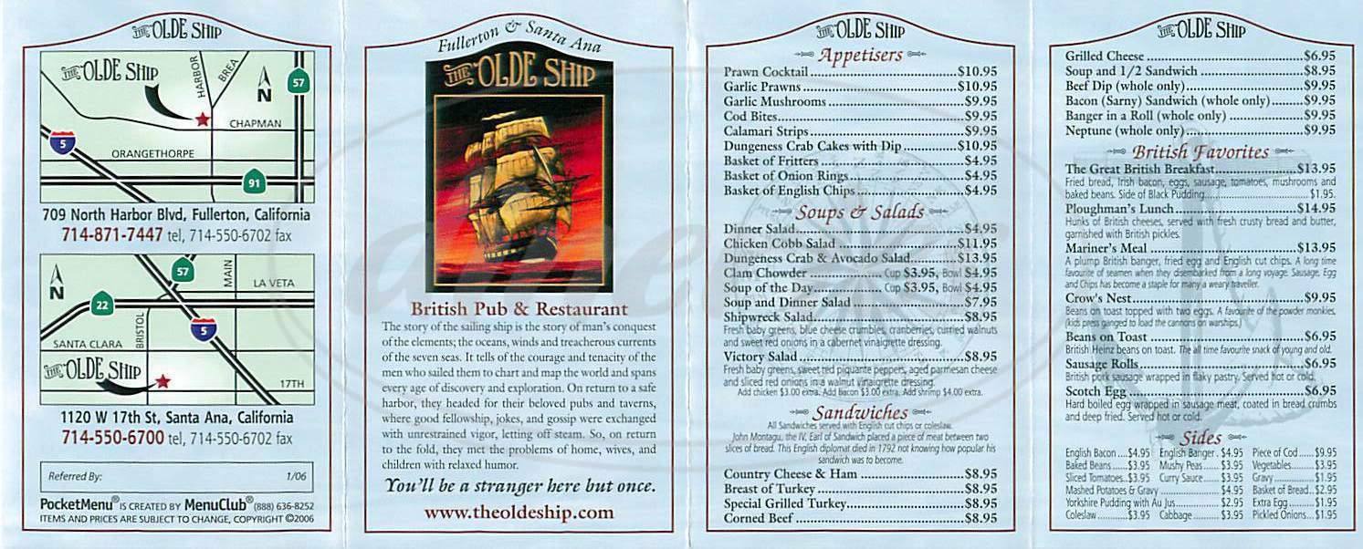 menu for The Olde Ship