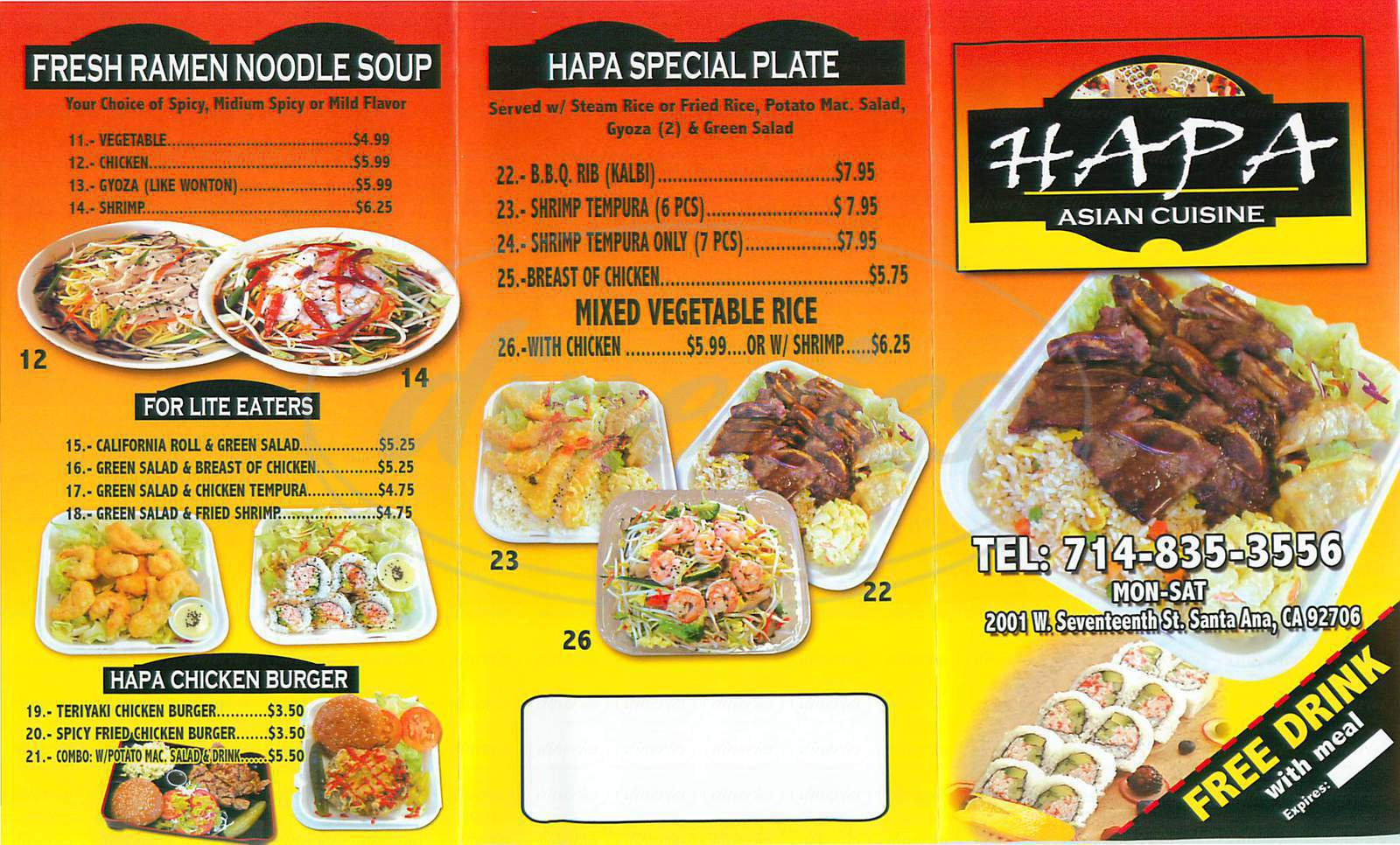 menu for Happa Asian Cuisine