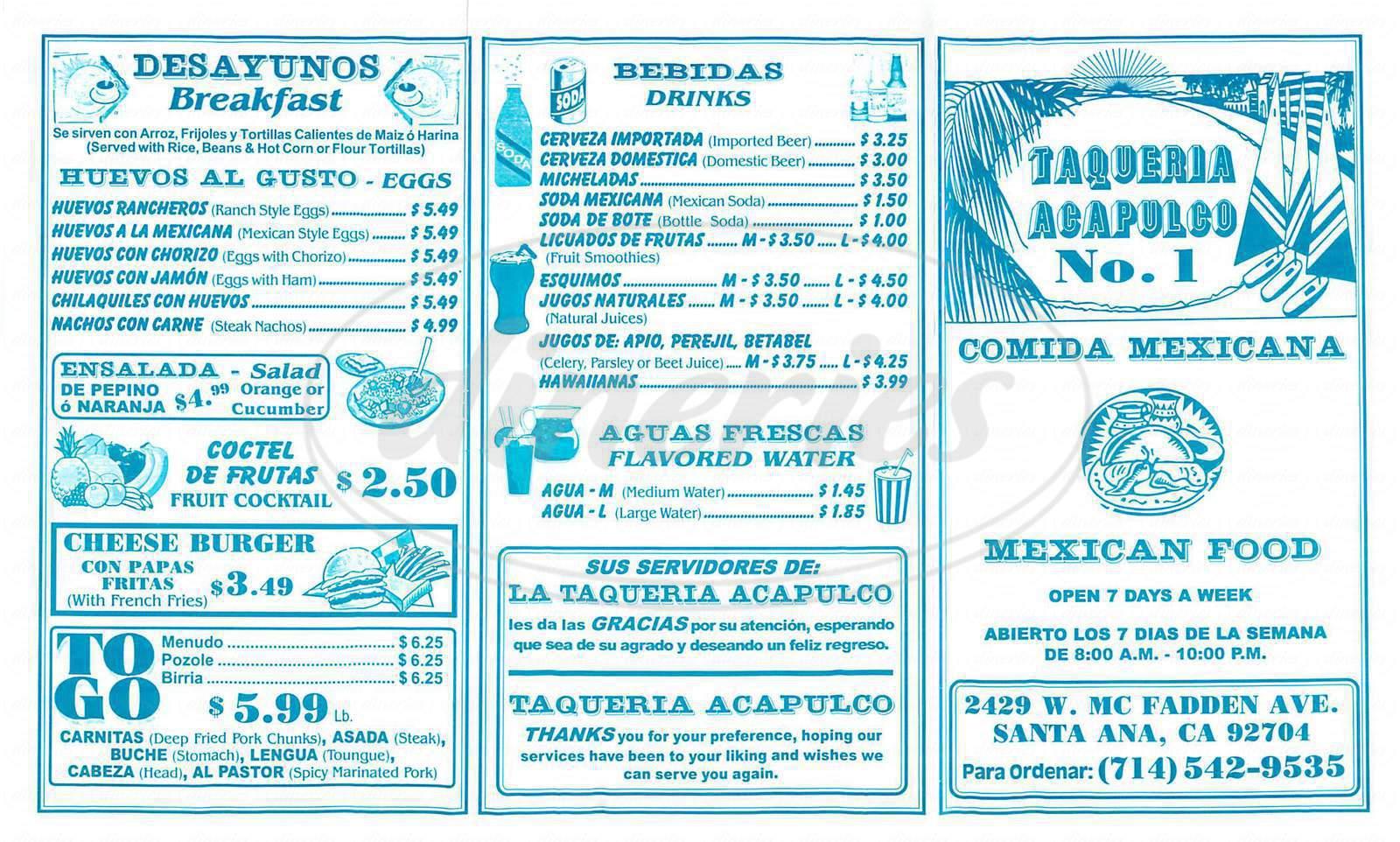 menu for Taqueria Acapulco