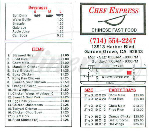 menu for Chef Express