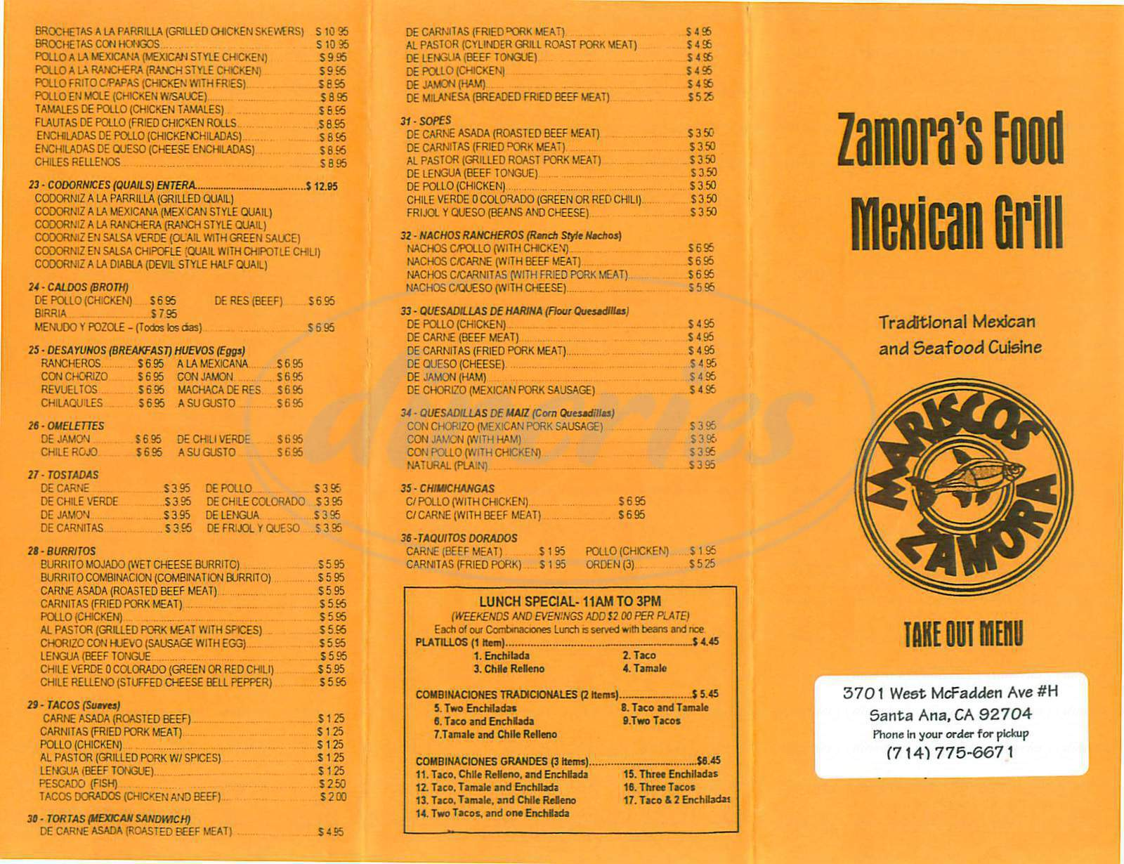 menu for Zamora's Food Mexican Grill