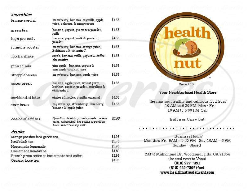 menu for Health Nut