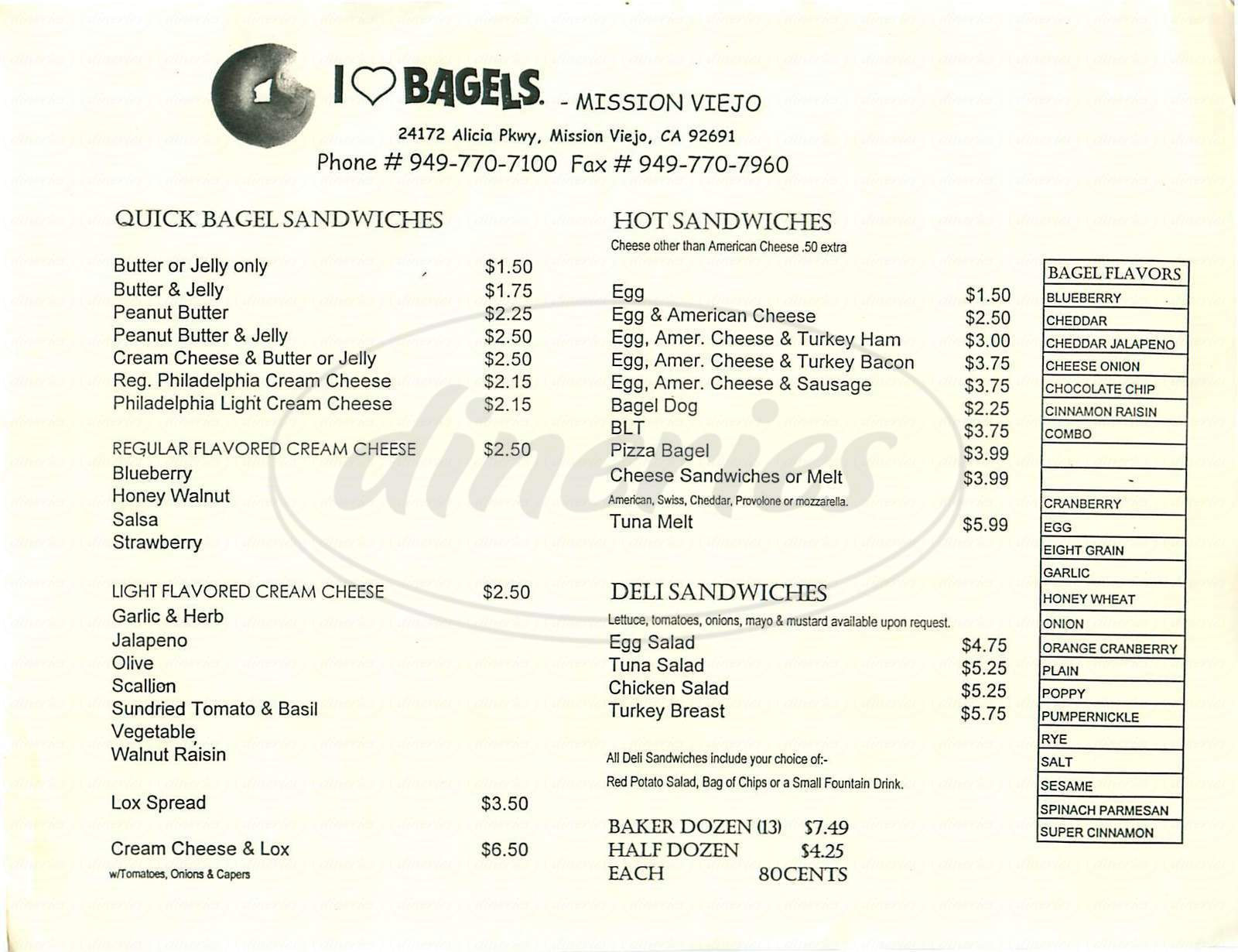 menu for I Love Bagels