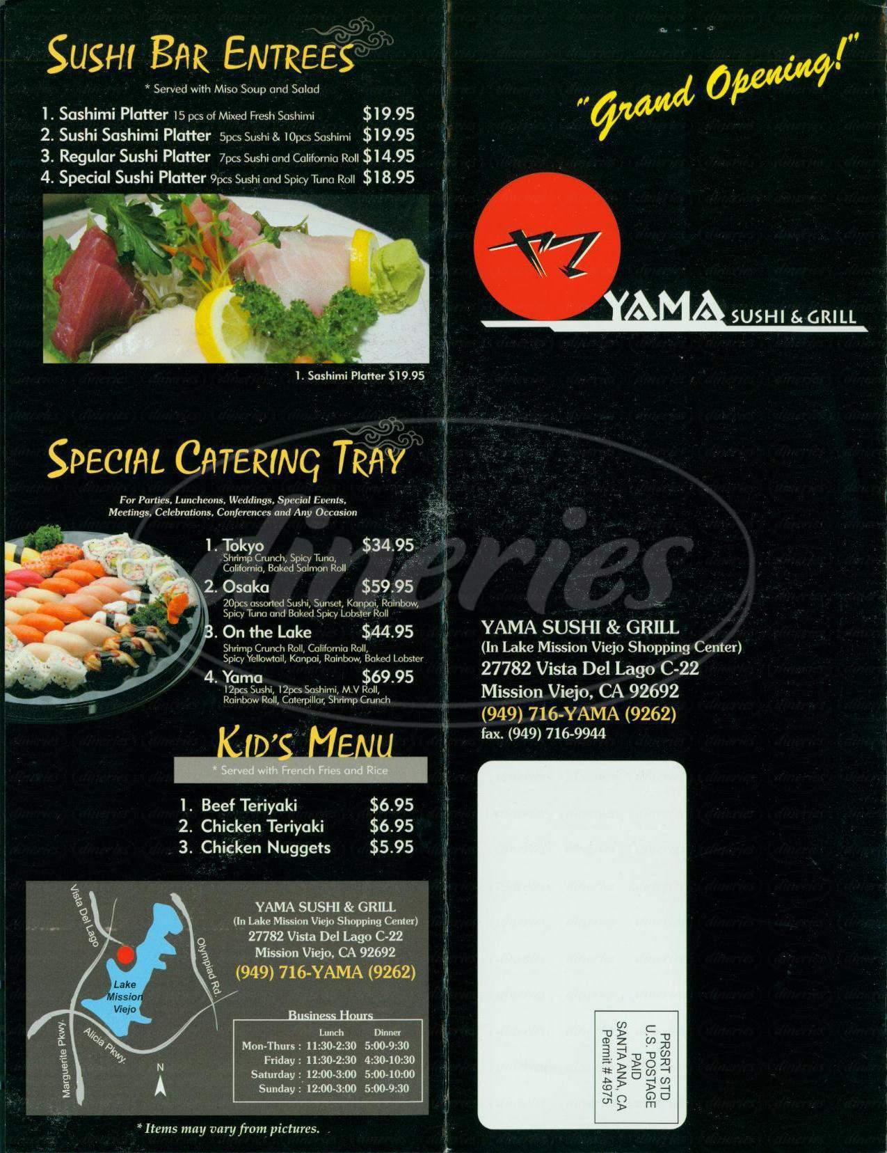 menu for Yama Sushi & Grill