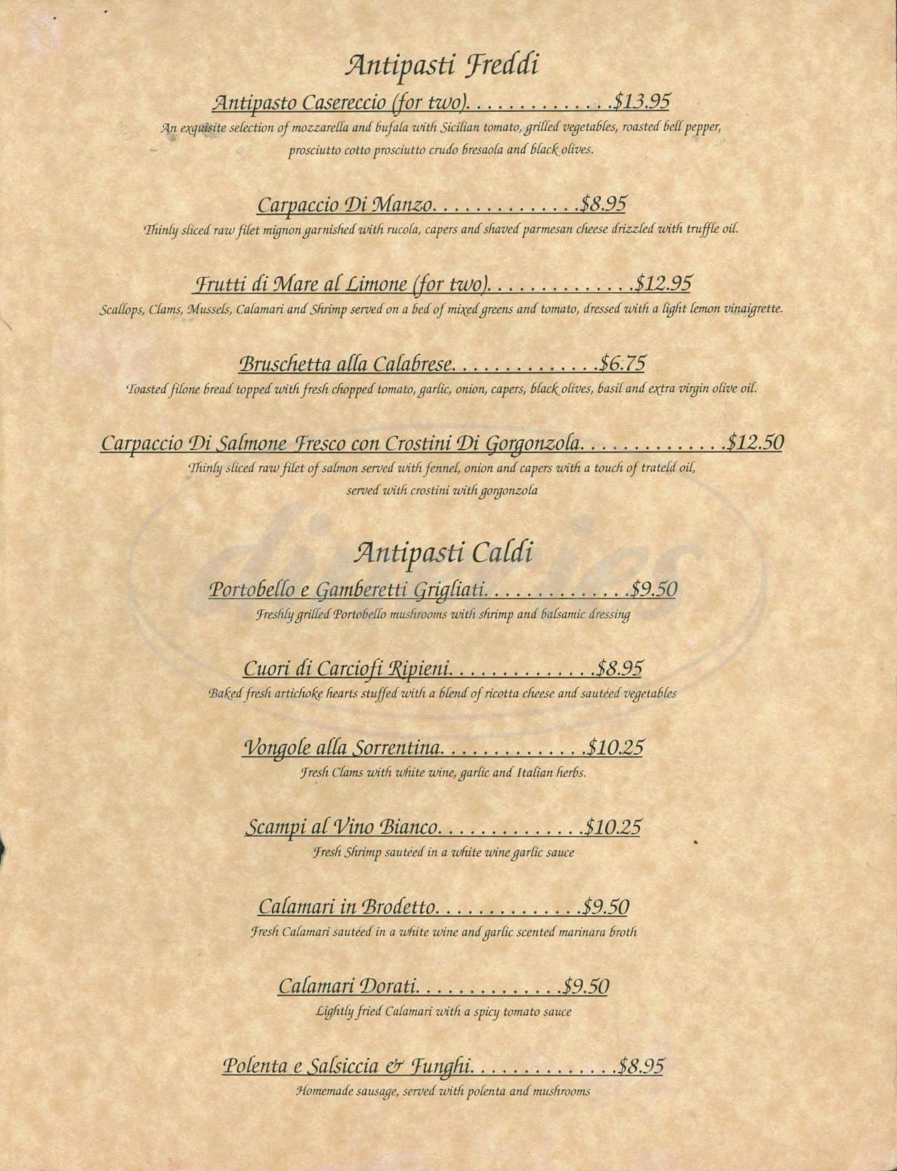 menu for Valentina