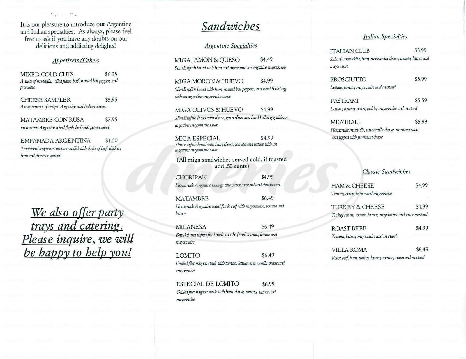 menu for Villa Roma Market & Deli